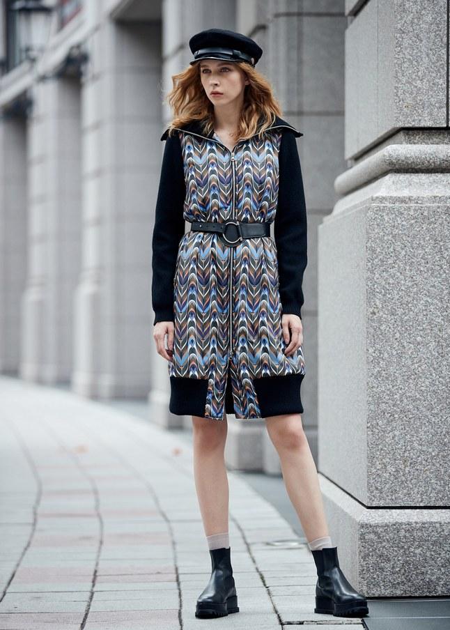 圖騰拼接流行時尚長袖洋裝
