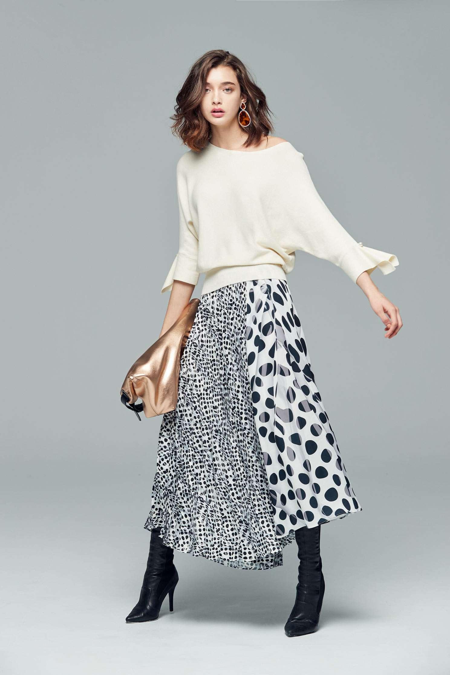Irregular polka dot skirt