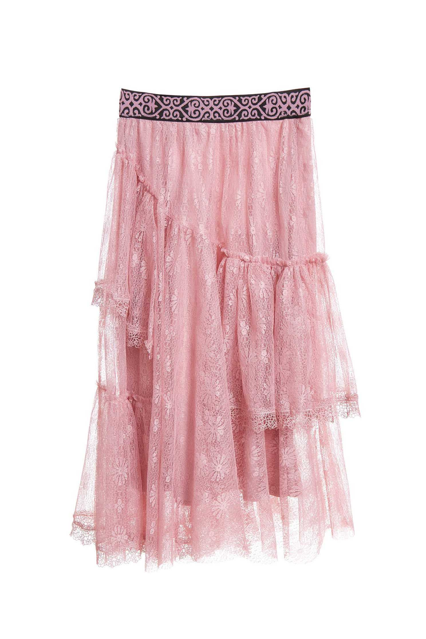 Dry rose lace skirt