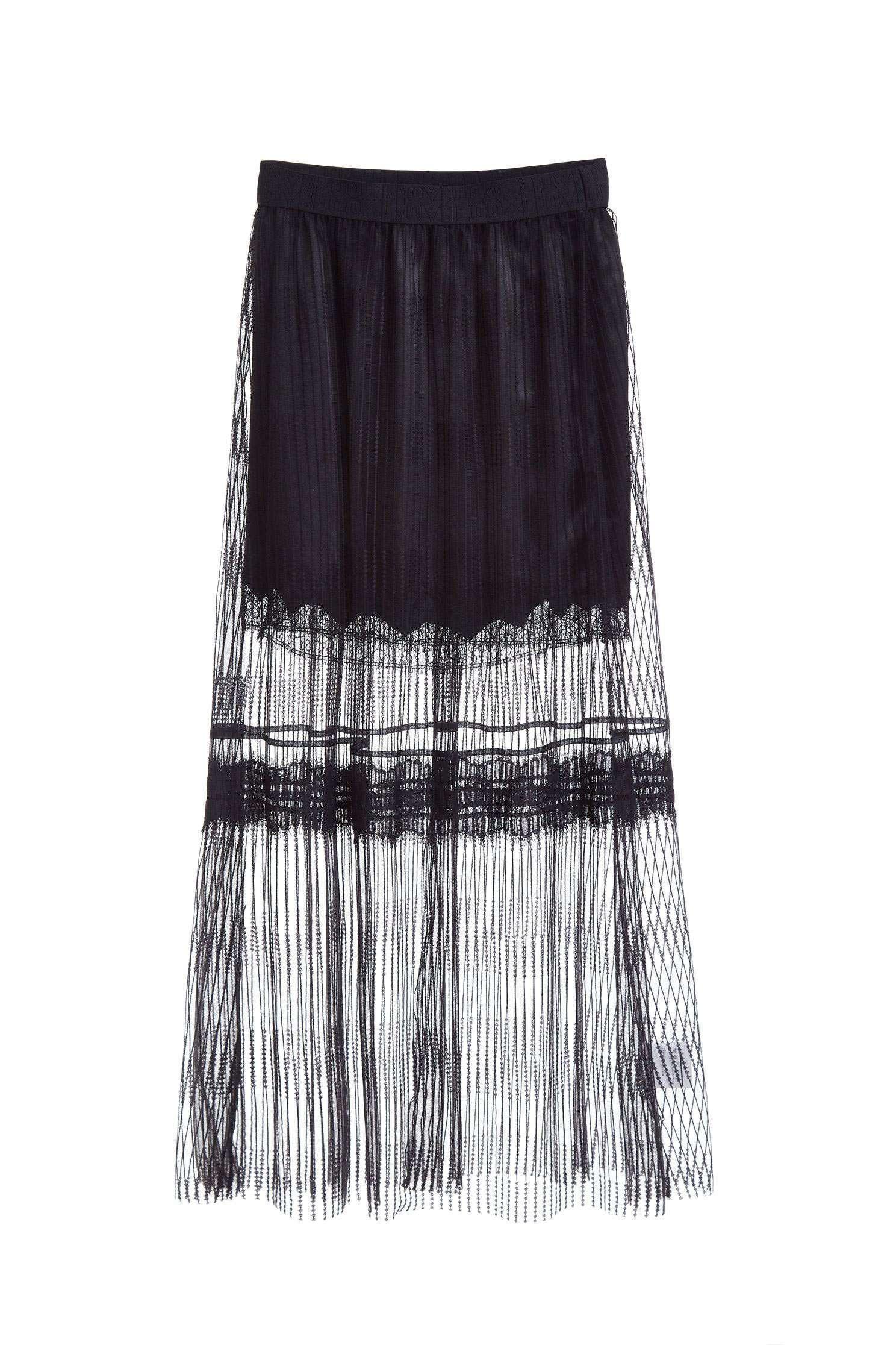 Translucent elastic fashion long skirt