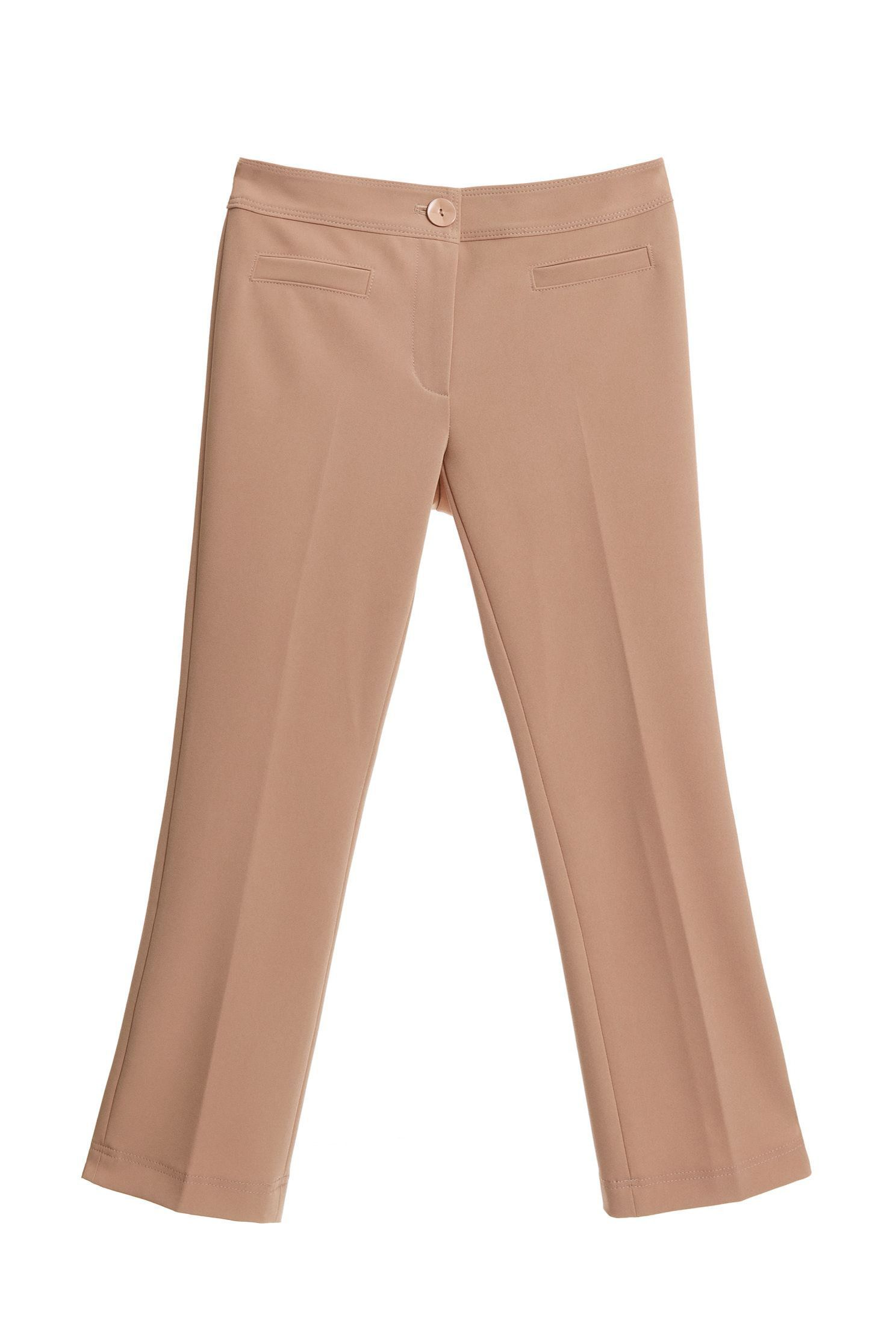Micro-flared camel trousers