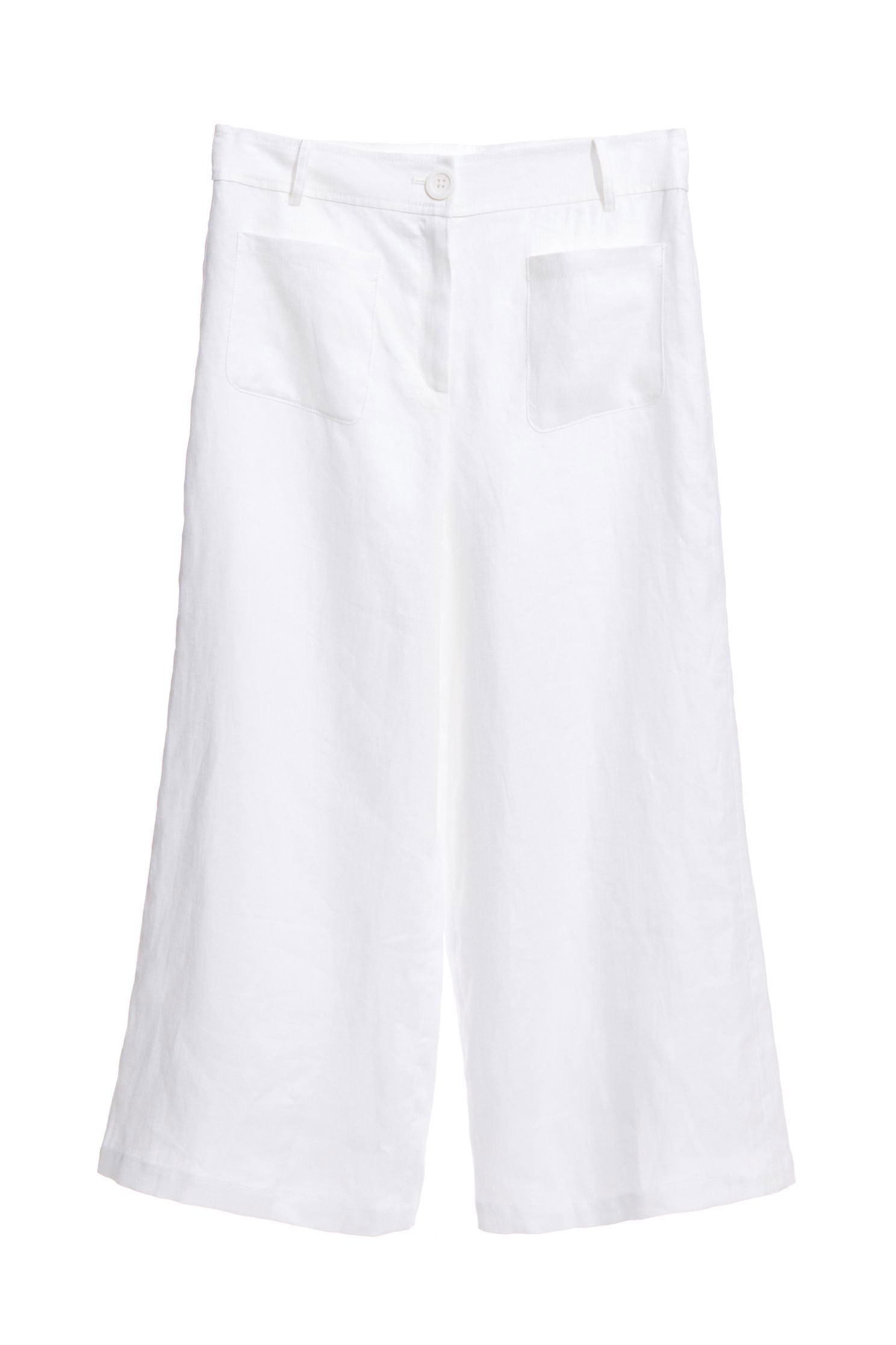 White wide-plate trousers