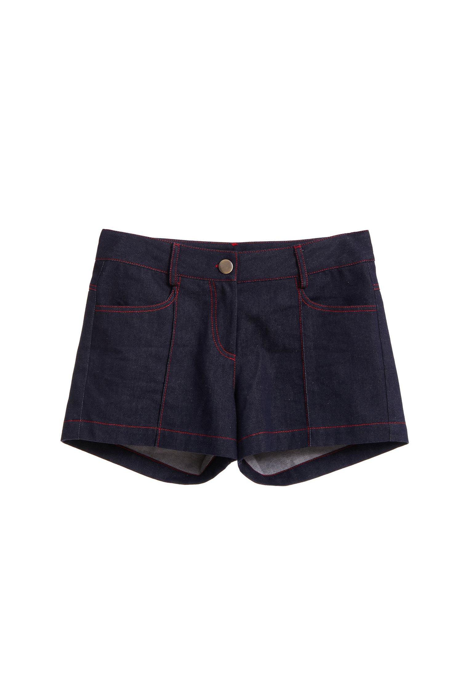 Red threads denim shorts