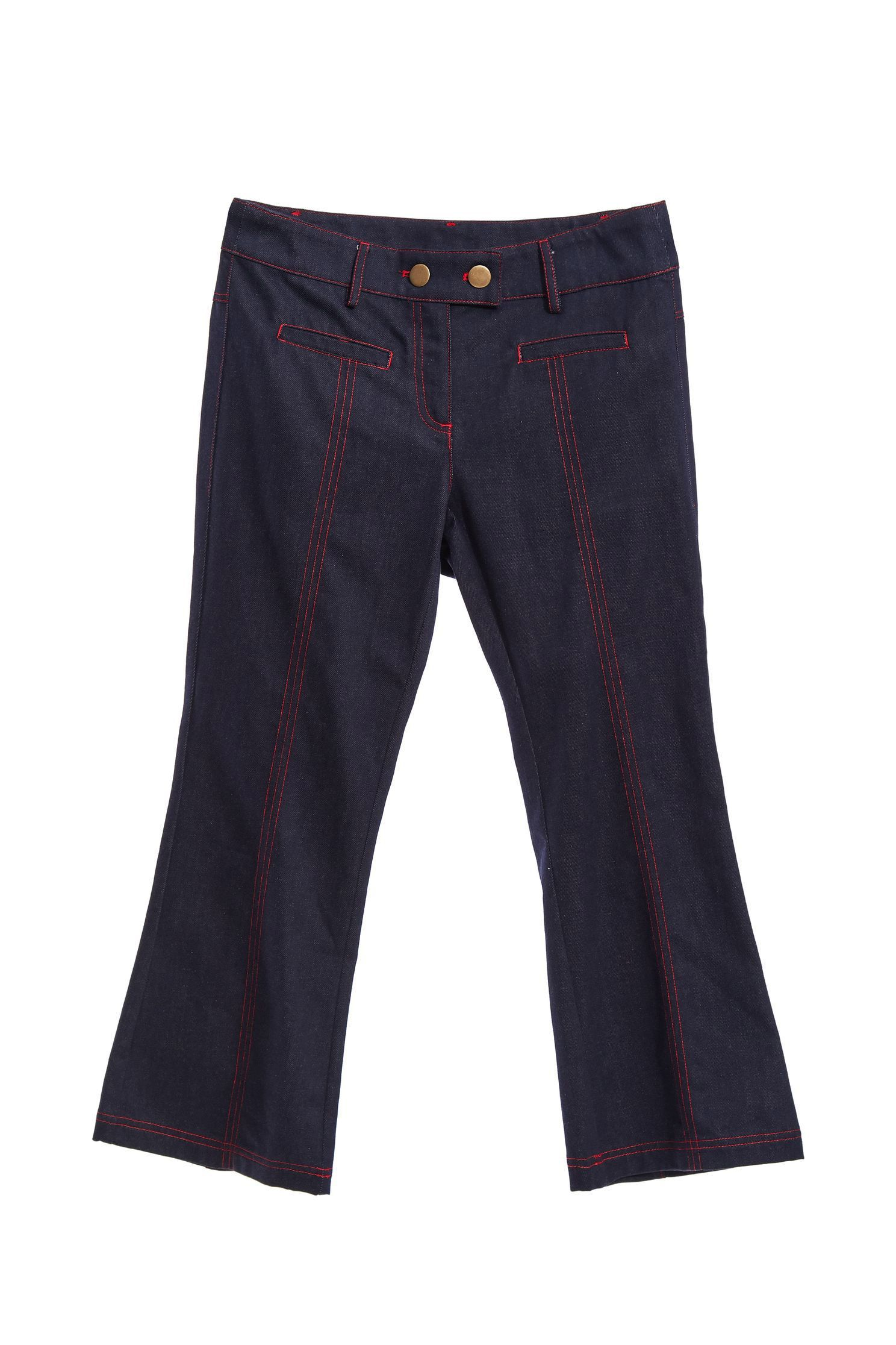 Red threads denim pants