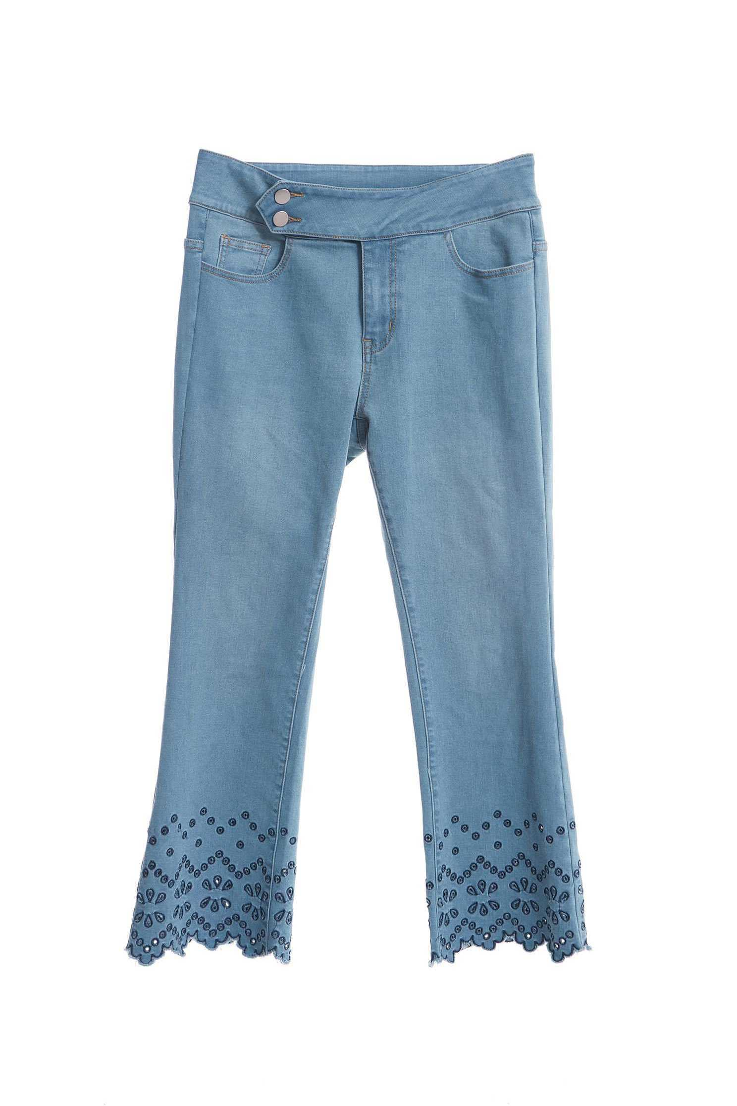 Embroidered hollow flare jeans