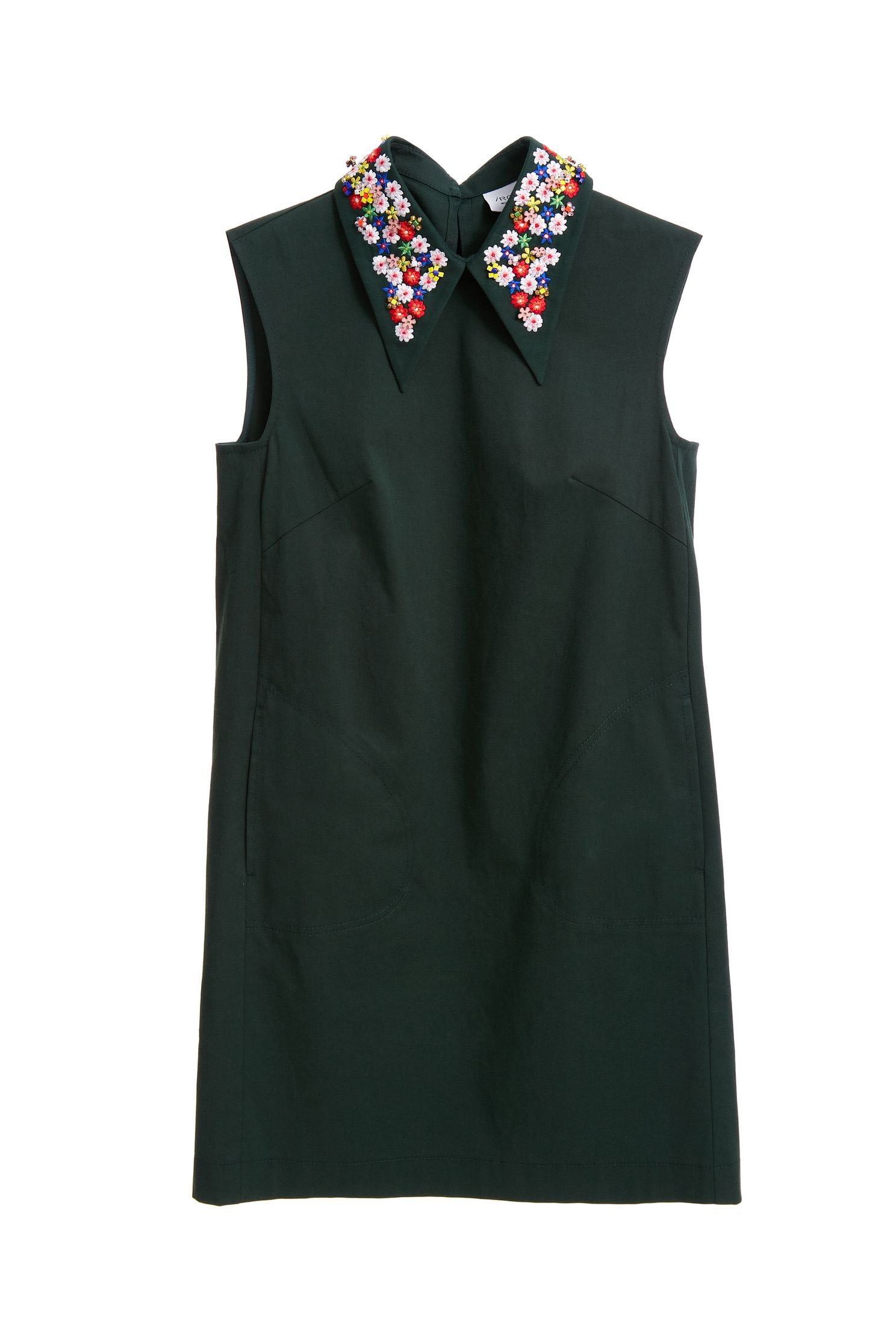 Sparkling collars sleeveless dress.