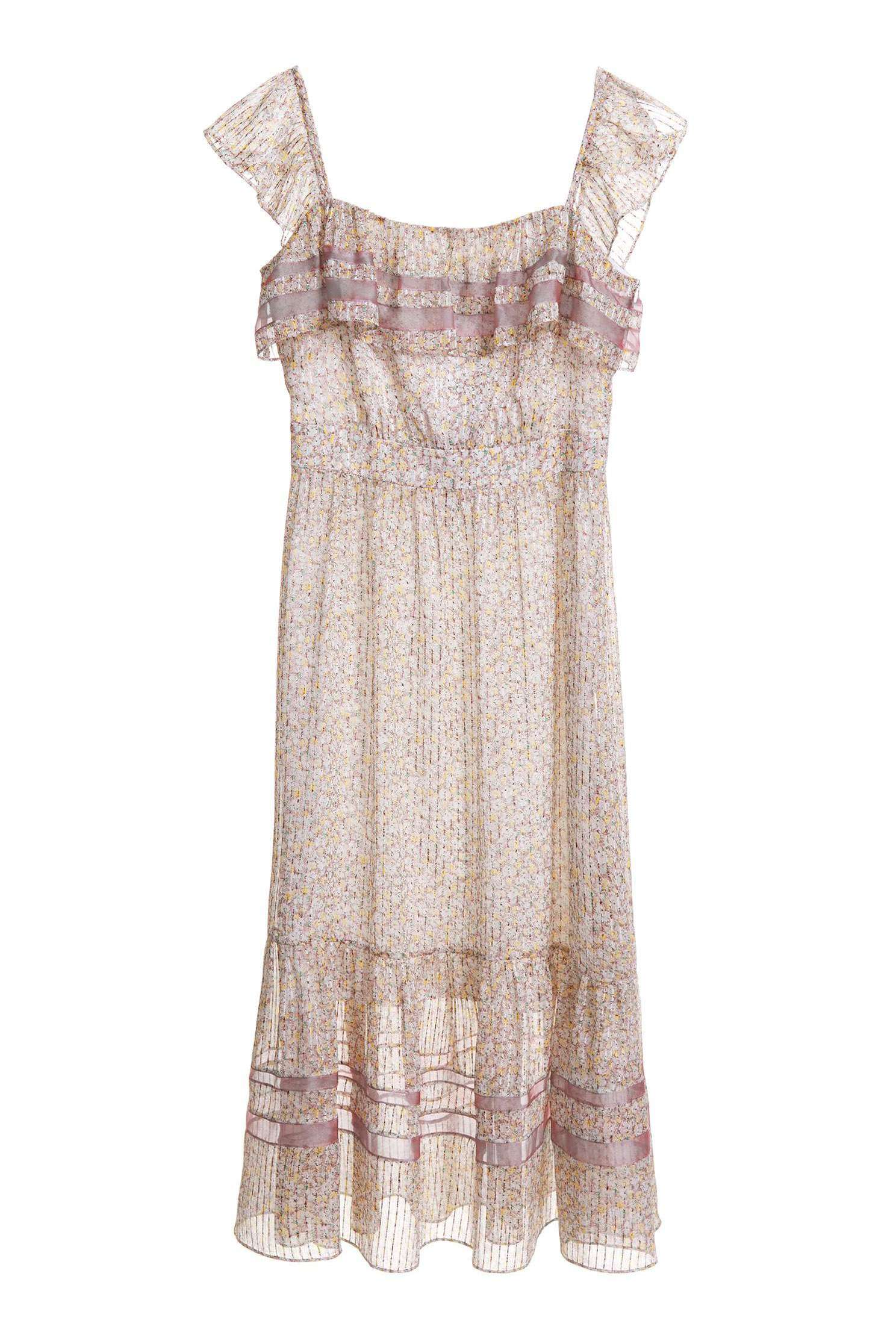 Ribbon dress with small floral print