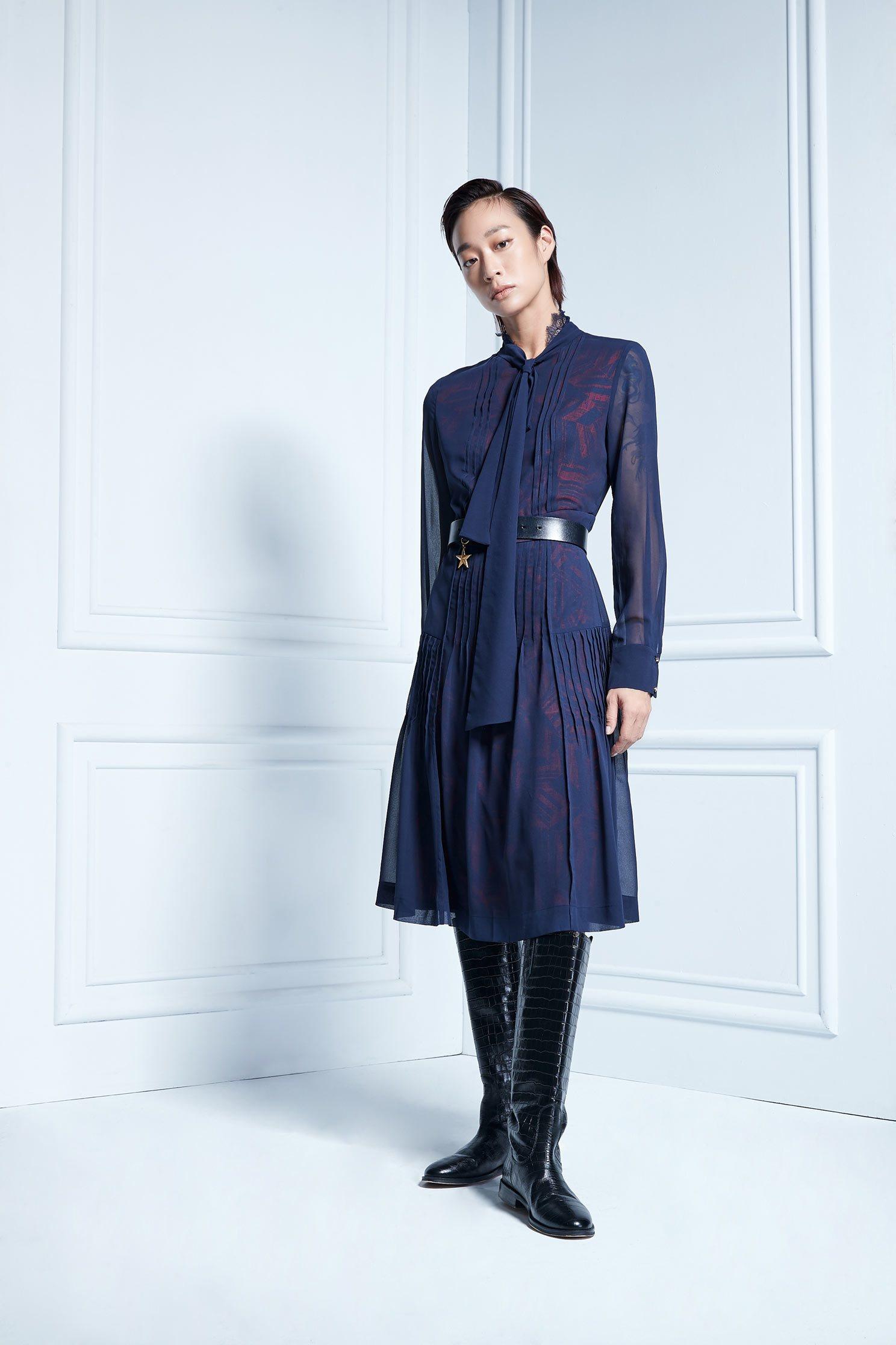 Navy blue chiffon printed dress