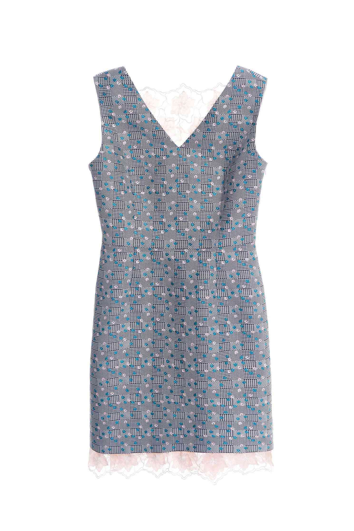 Jacquard dress mixed lace
