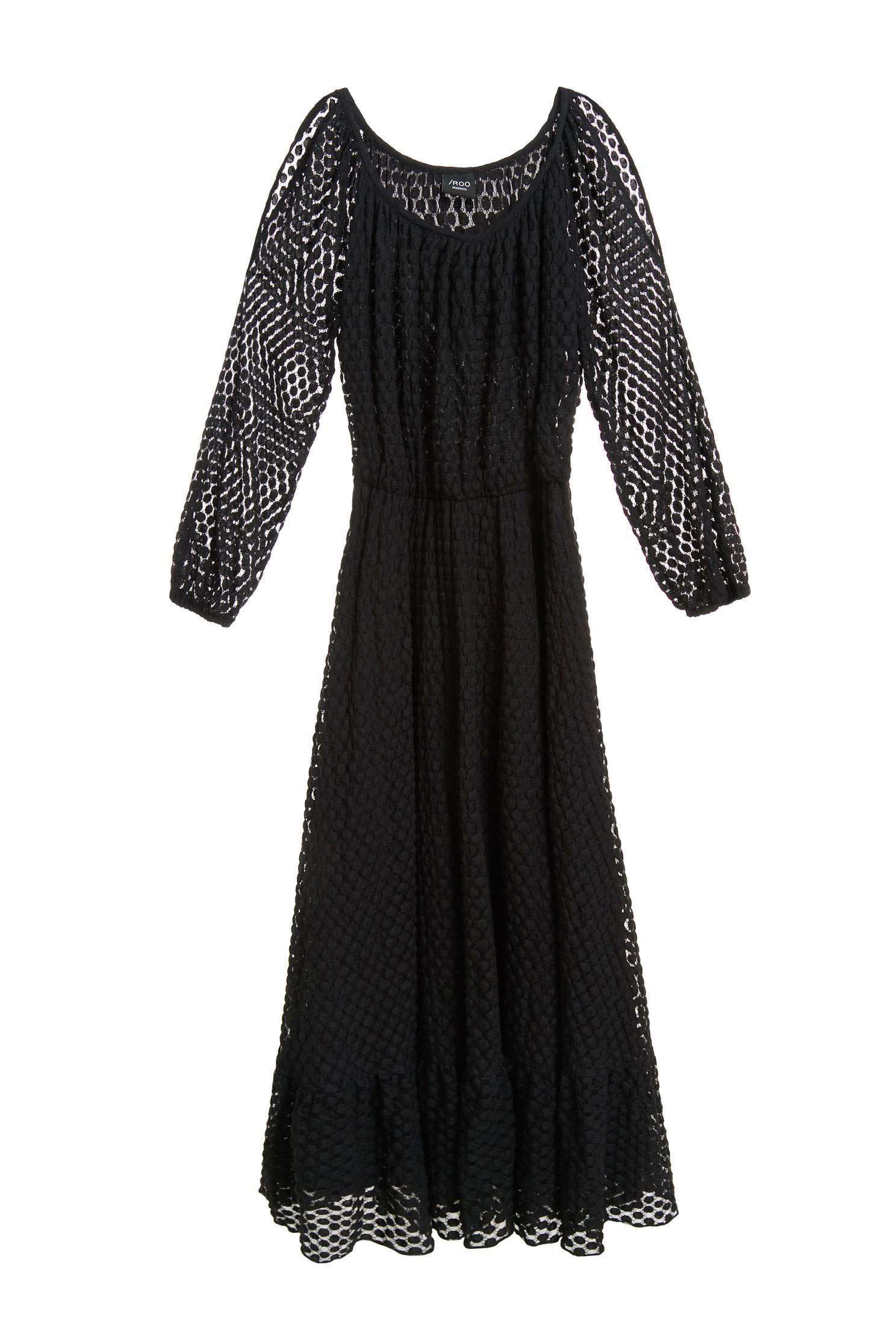 dot dress WITH CUT-OUT SHOULDERS