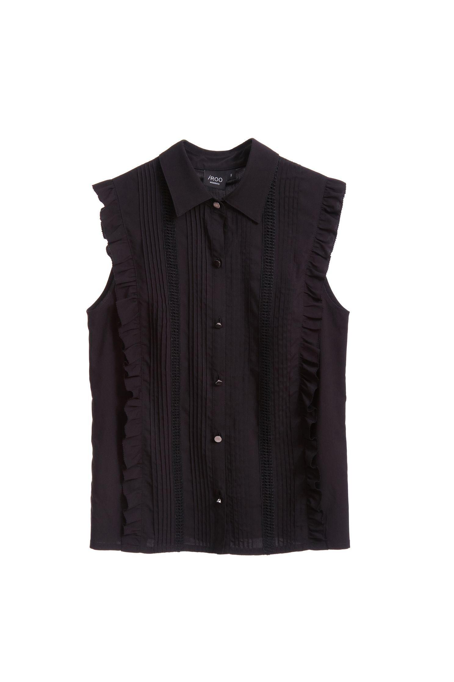 Ruffled classic shape sleeveless vest