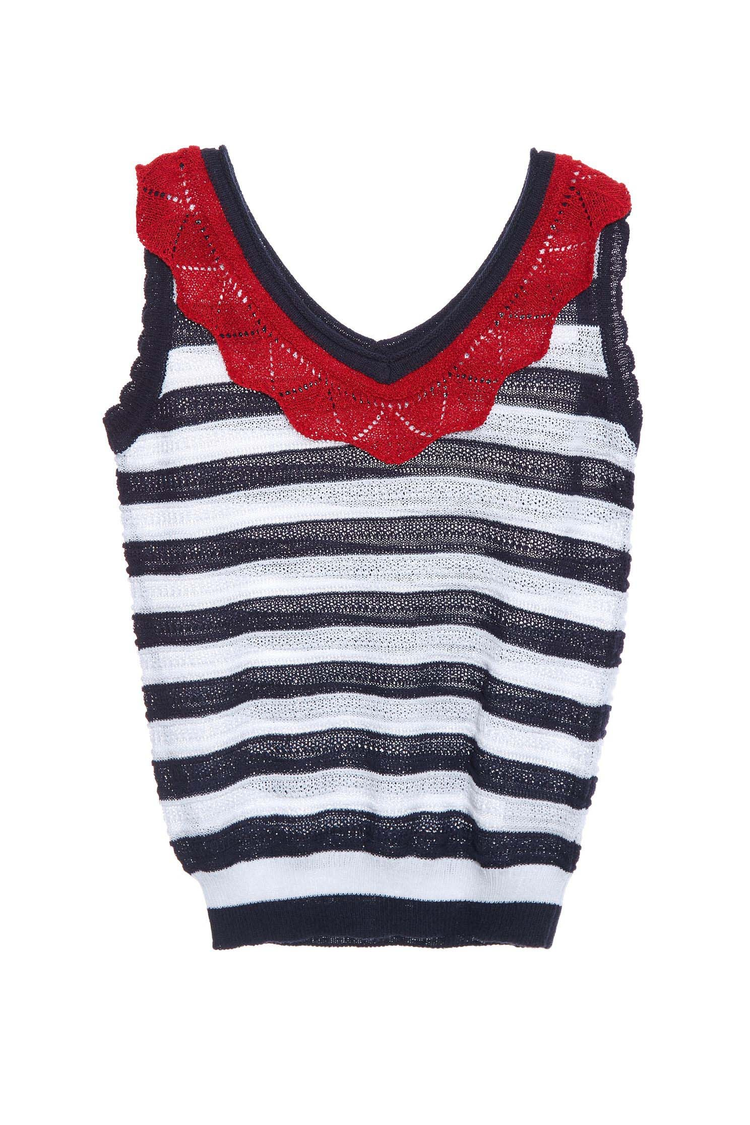 striped knitted vest