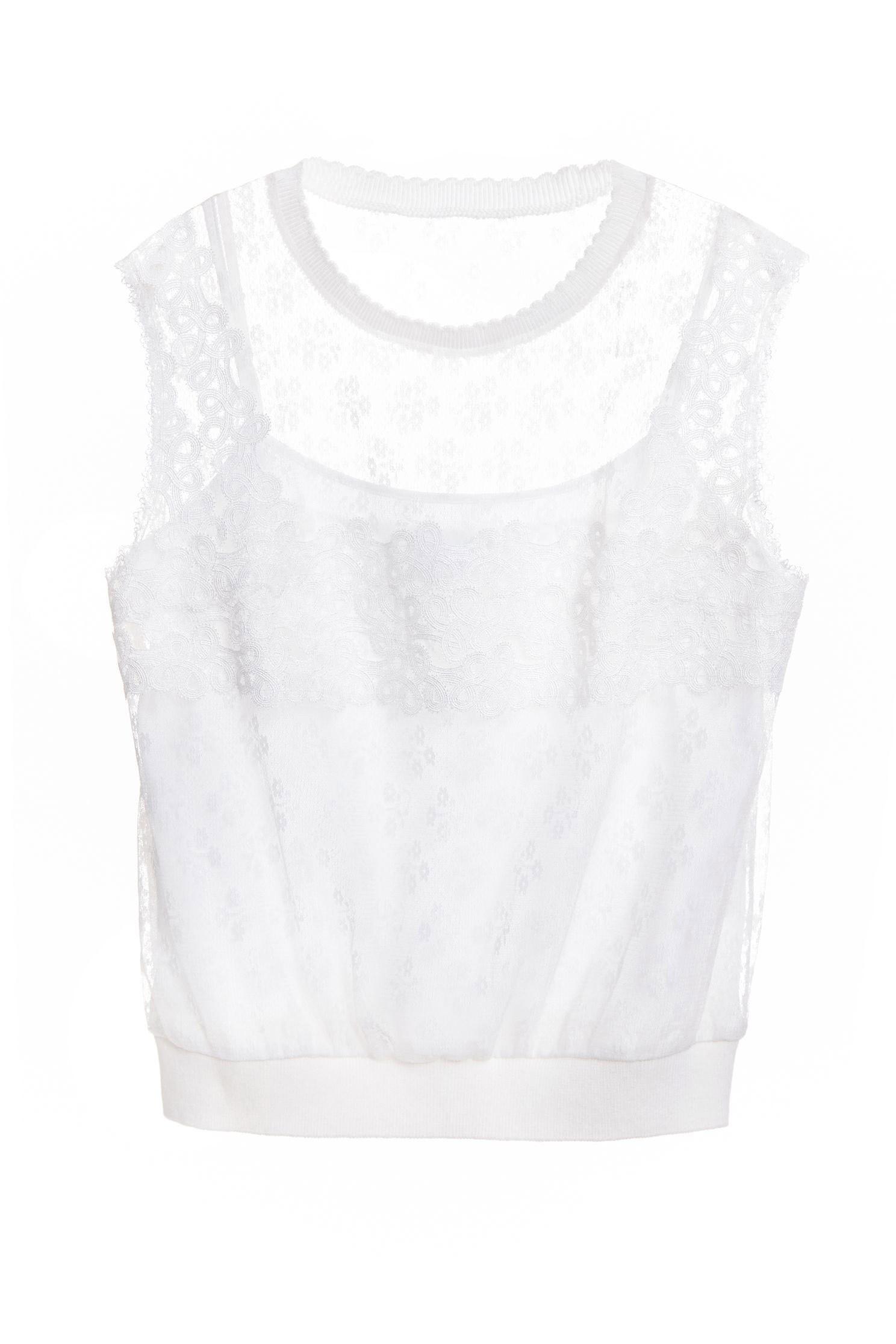 Thin lace round collar vest