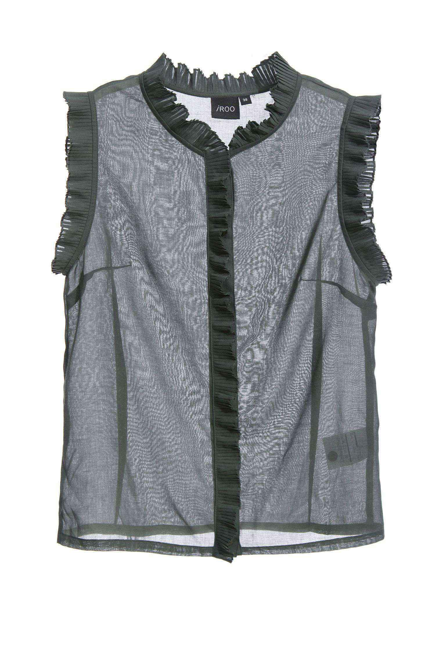 Pleated collar vest top