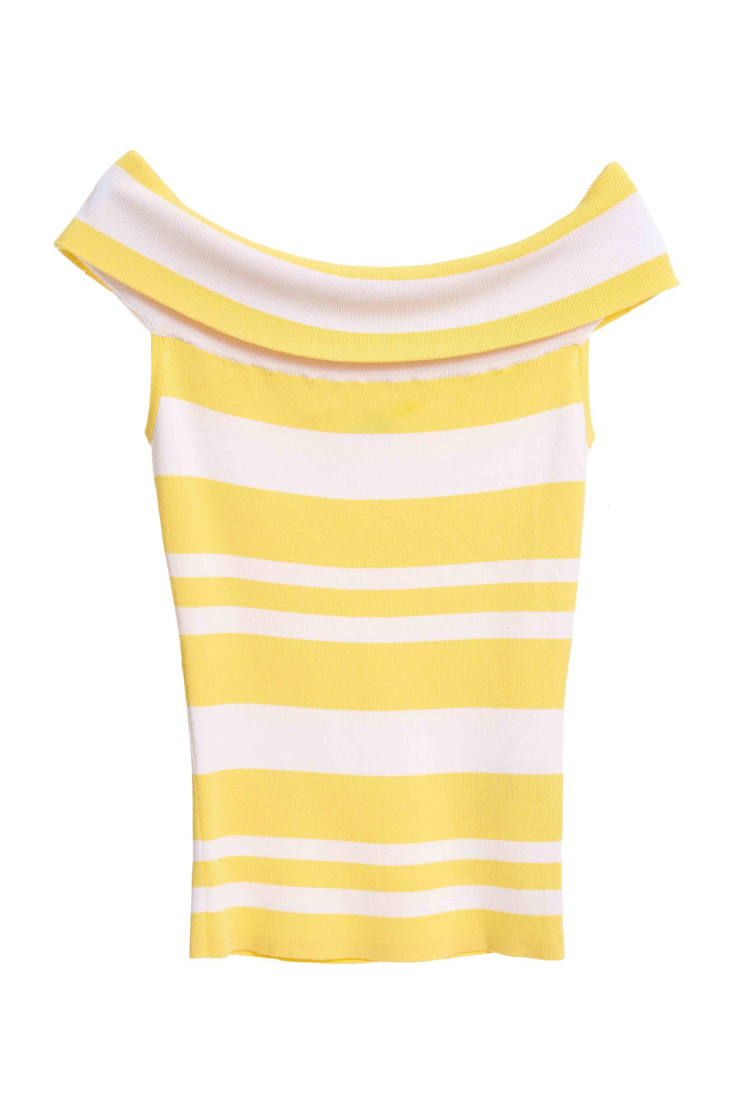 Knitted elastic striped top