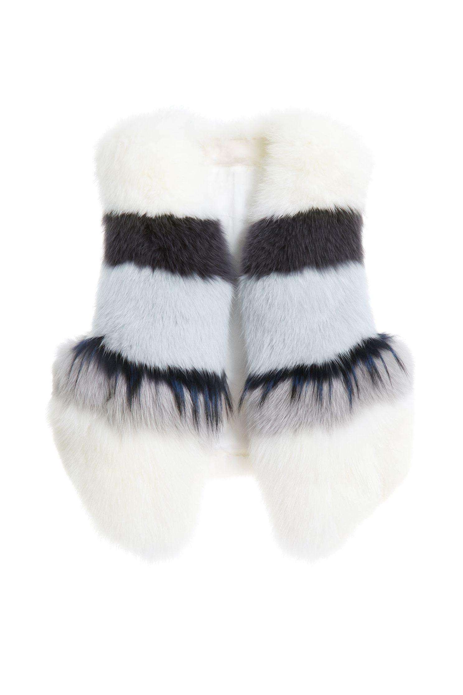 Color-striped fur vest