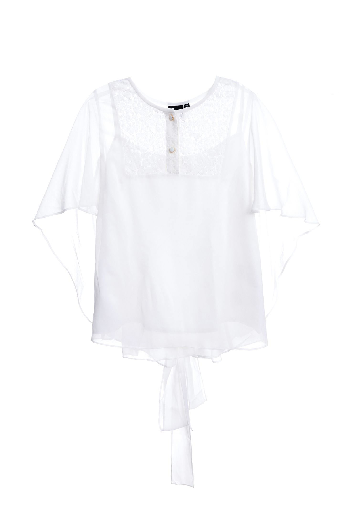 Lace back strap classic design short-sleeved top