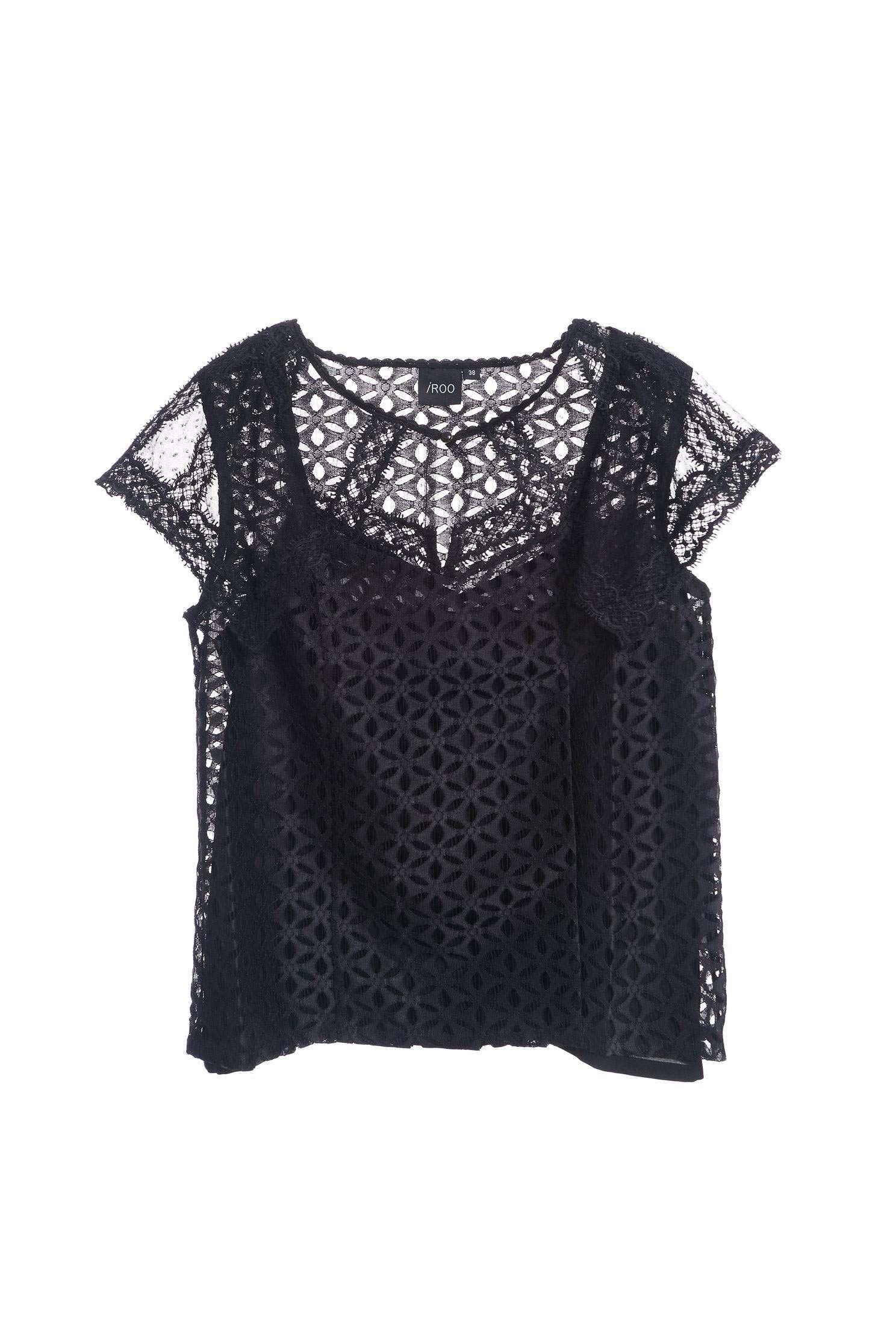 Elegant full lace classic design short-sleeved top