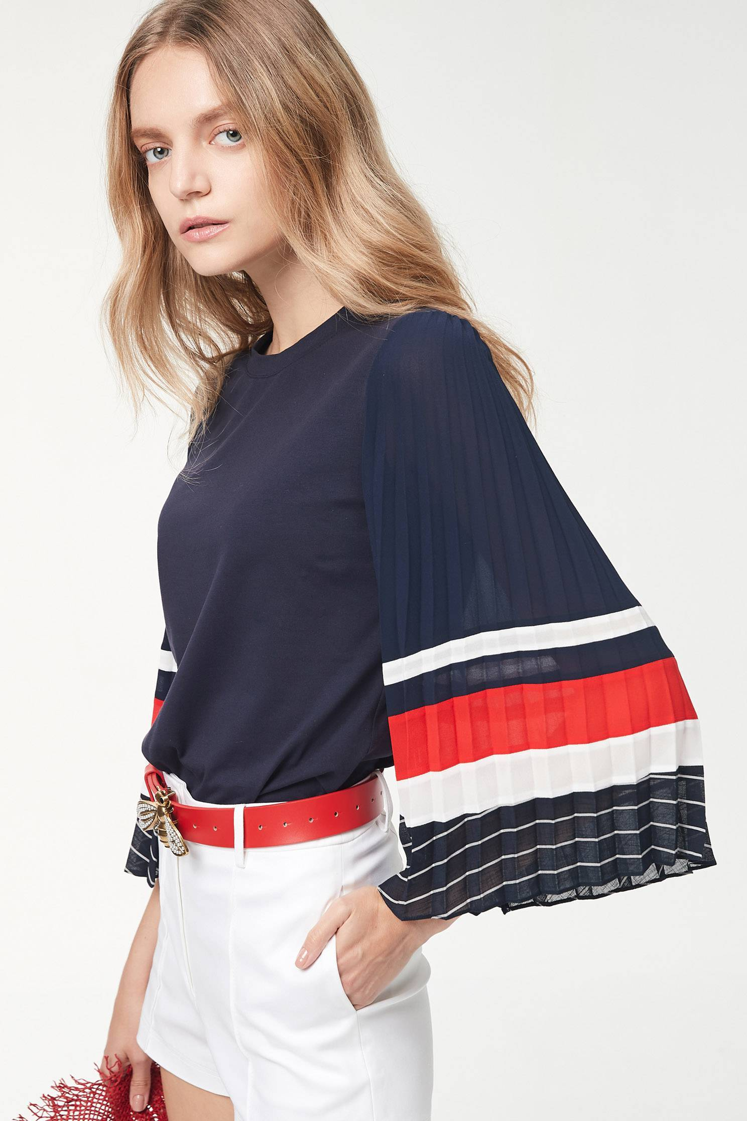 contrasting pleated top