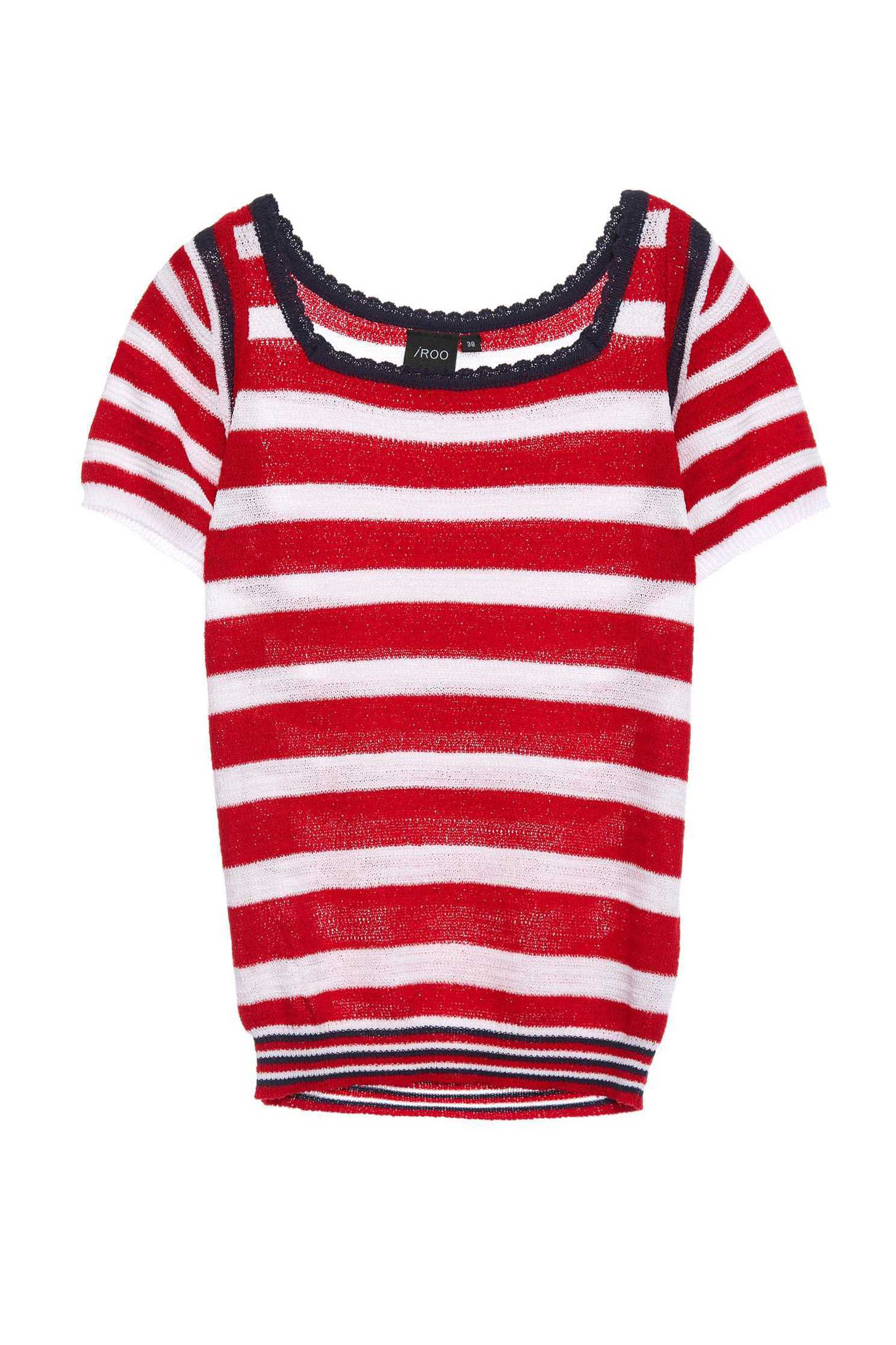 Red and white striped knitted top