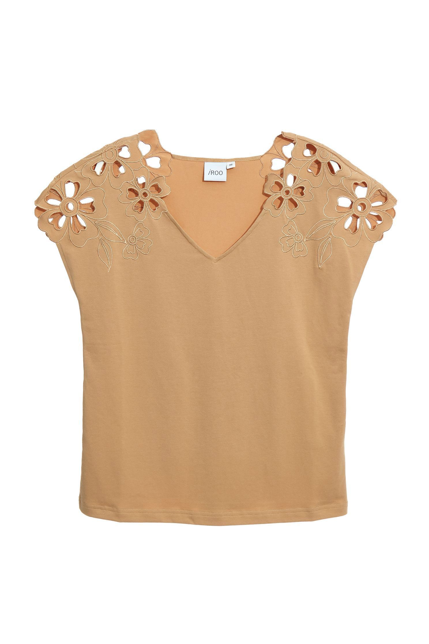 Embroidered hollow cotton top