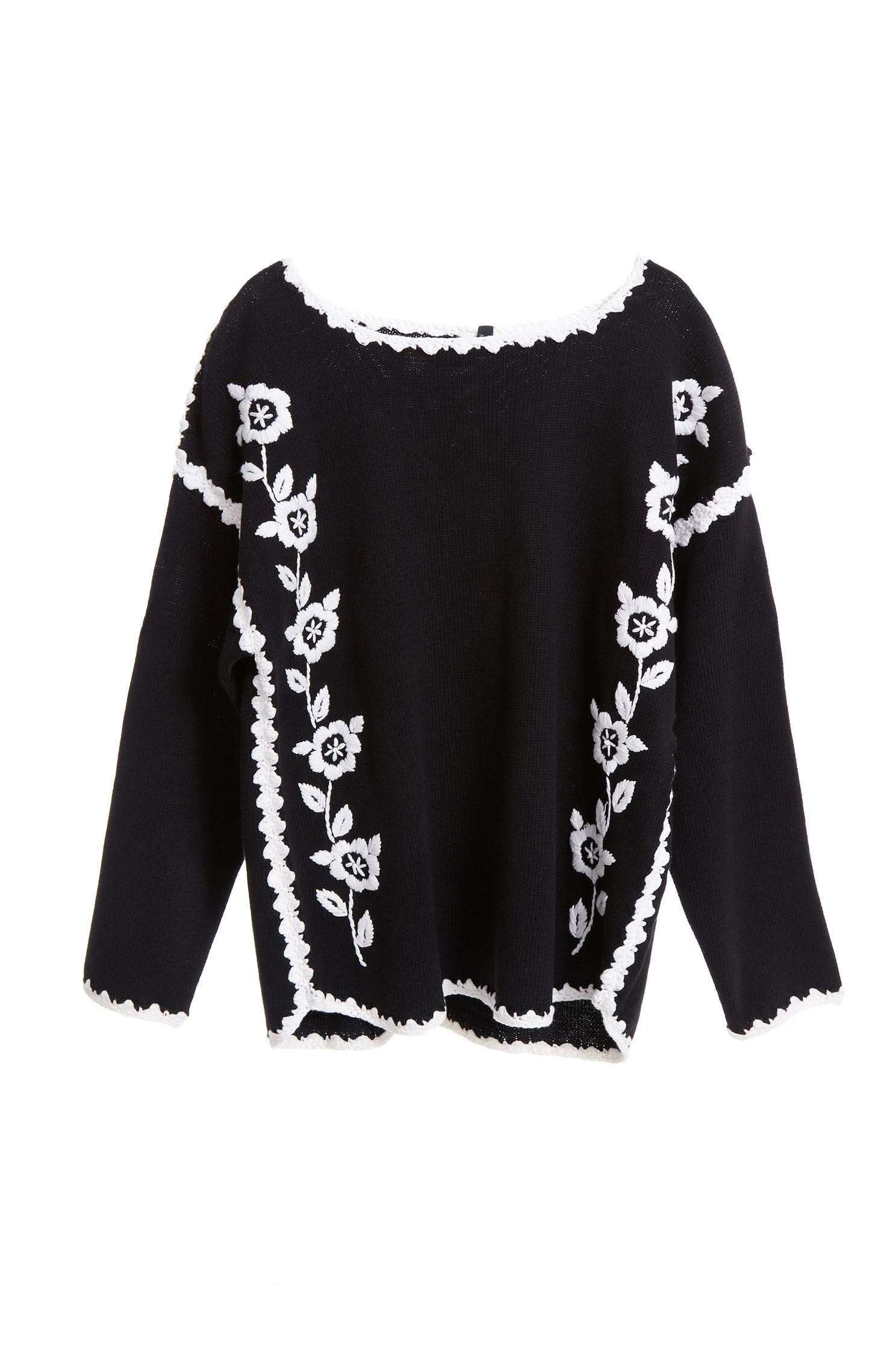 Hand knitted jacquard top