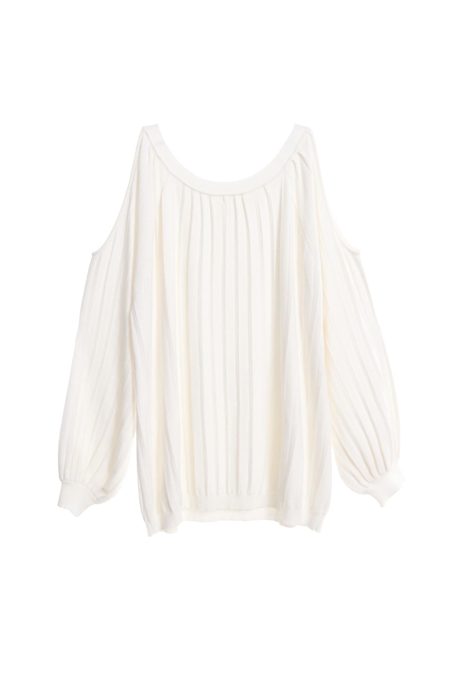 Pleated hollow knitting top
