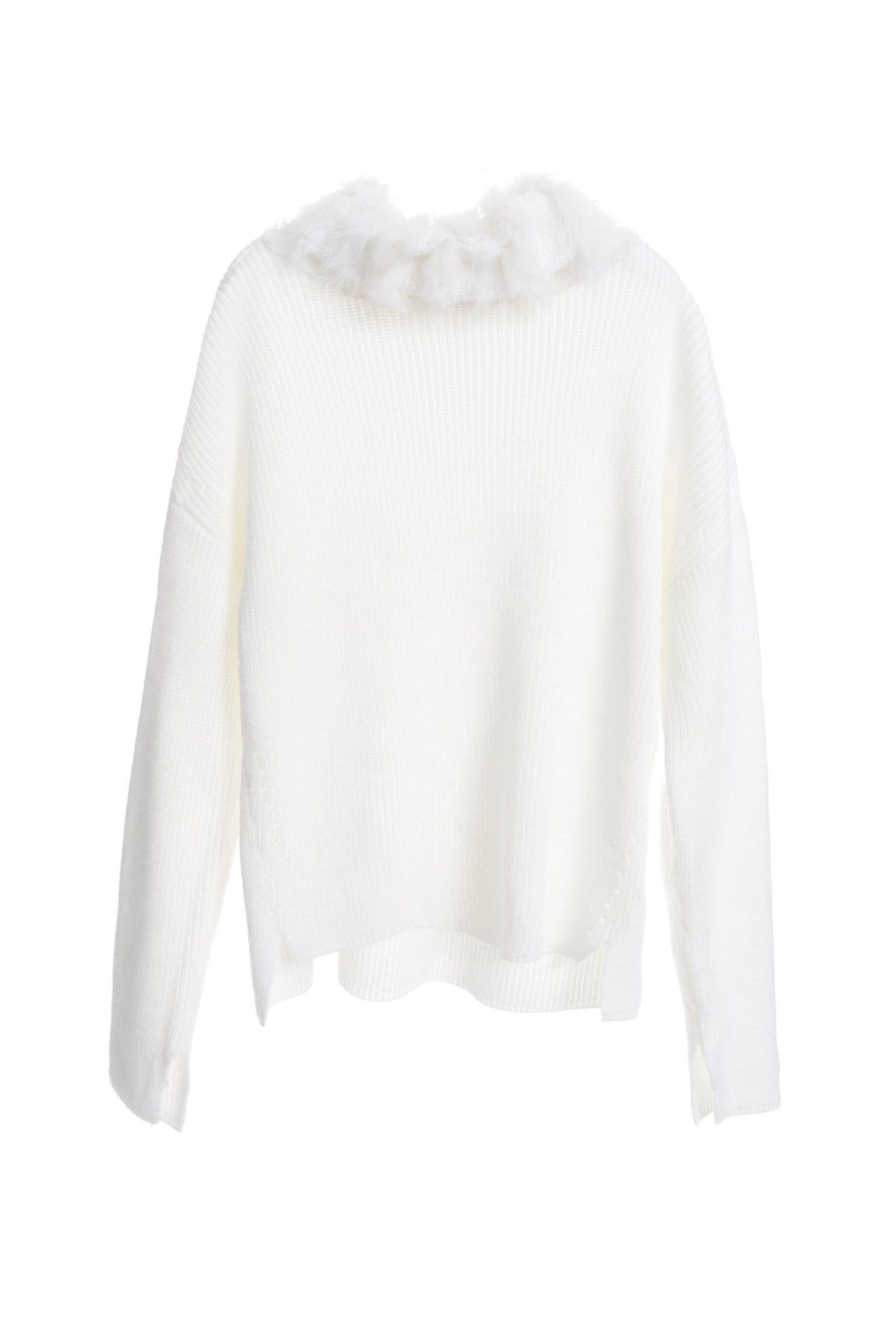 Furry lapel knitted top