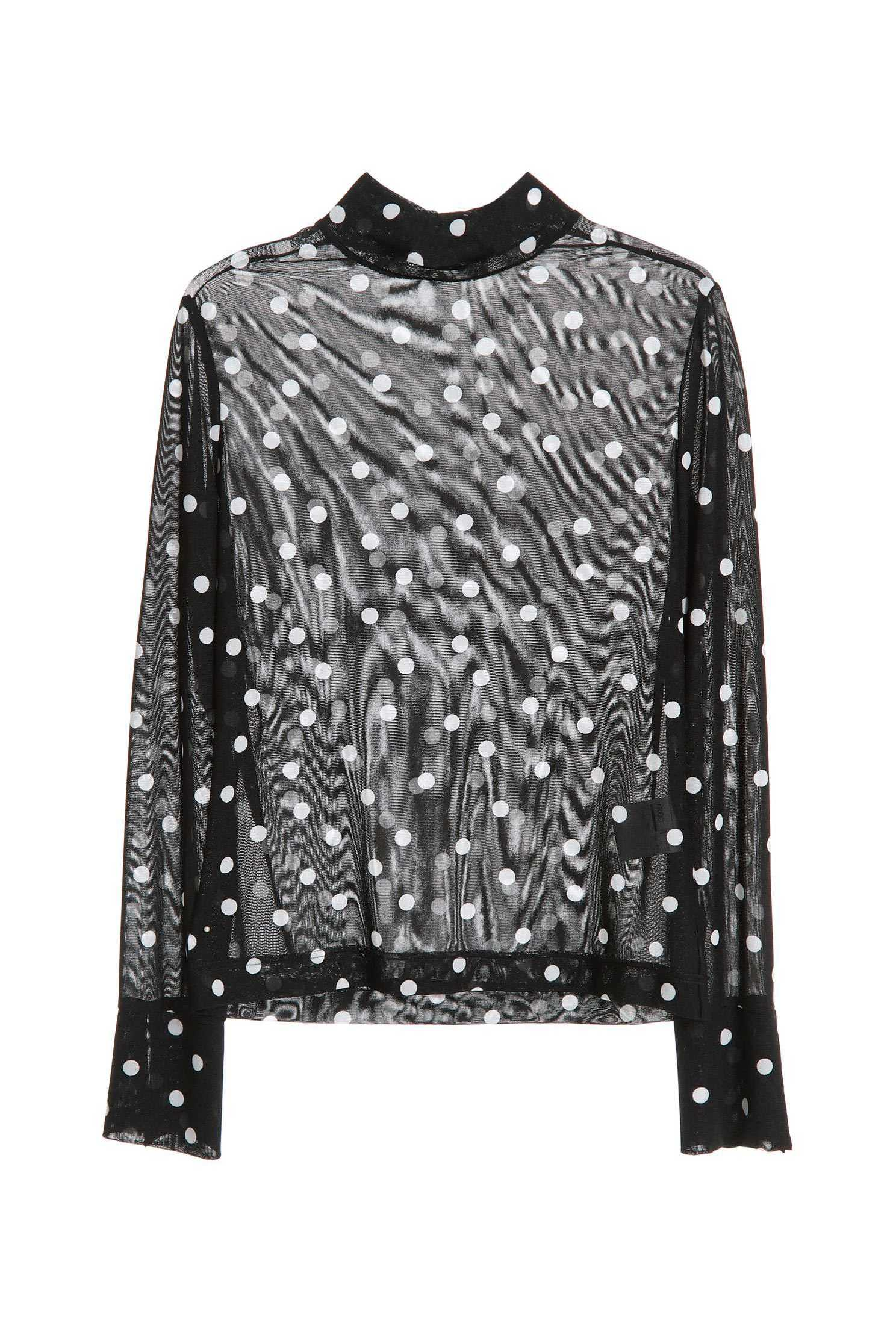 Large polka dot high-necked long-sleeved top