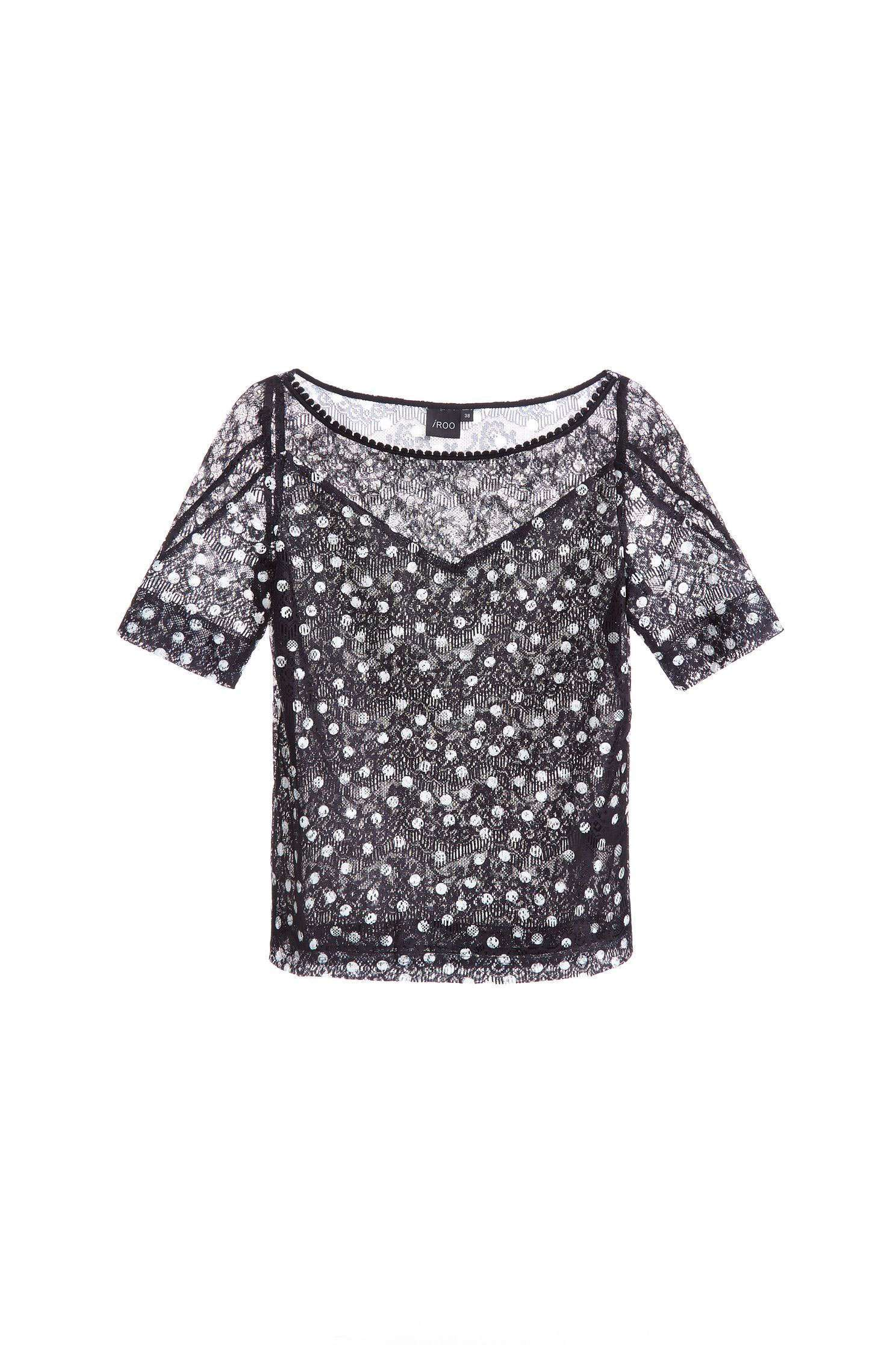 Polka dots lace splice top