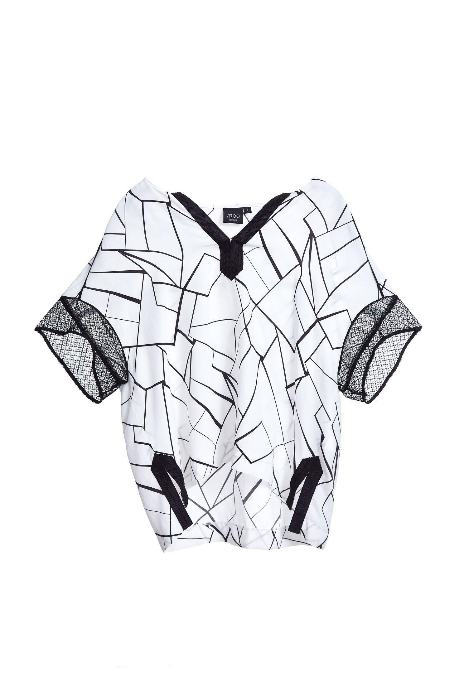 Stitching sleeve V-neck design short-sleeved top
