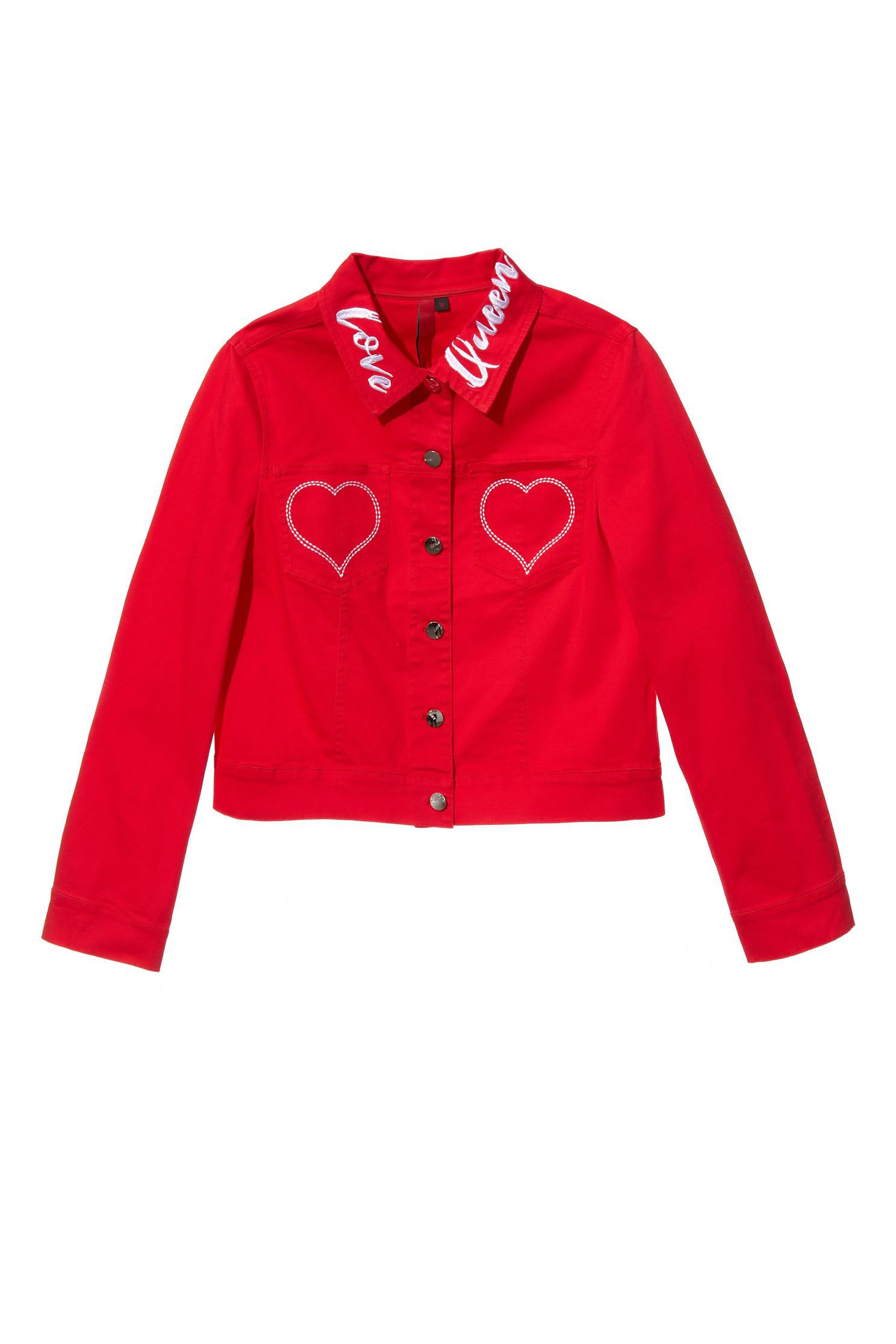 Lapel embroidered long-sleeved jacket