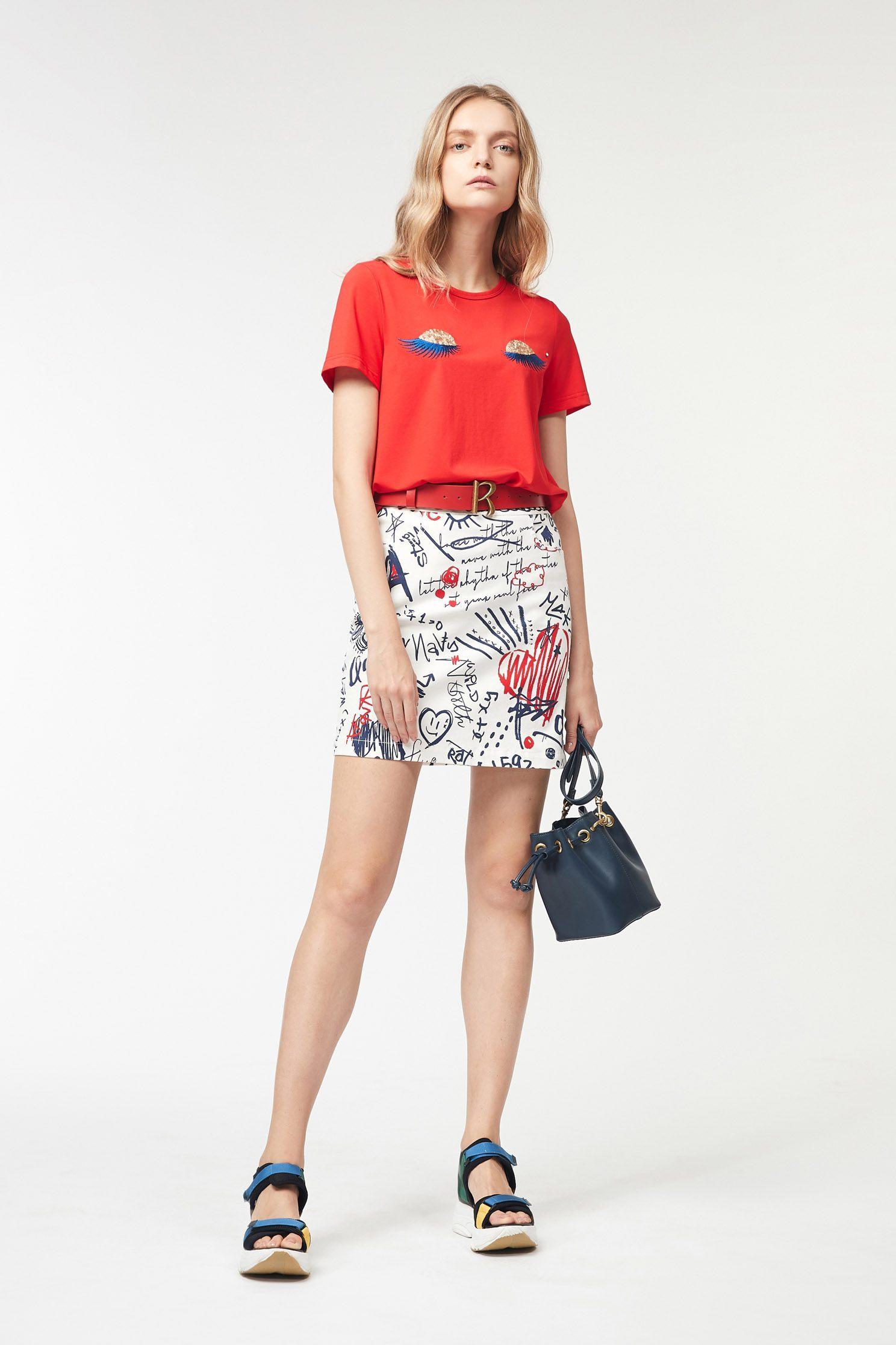 Figure press print short narrow skirt