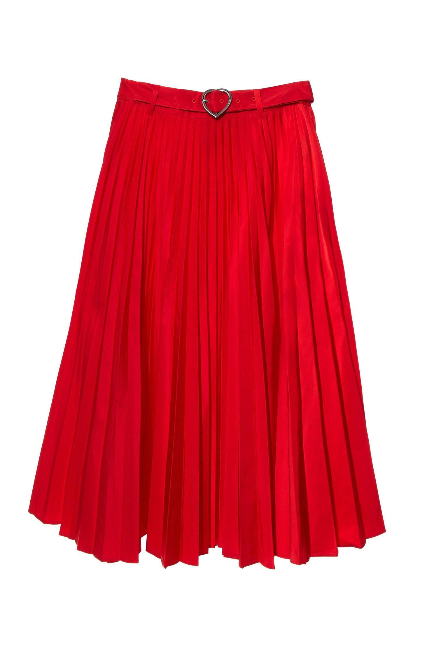 Mid-waist folds and knee skirt