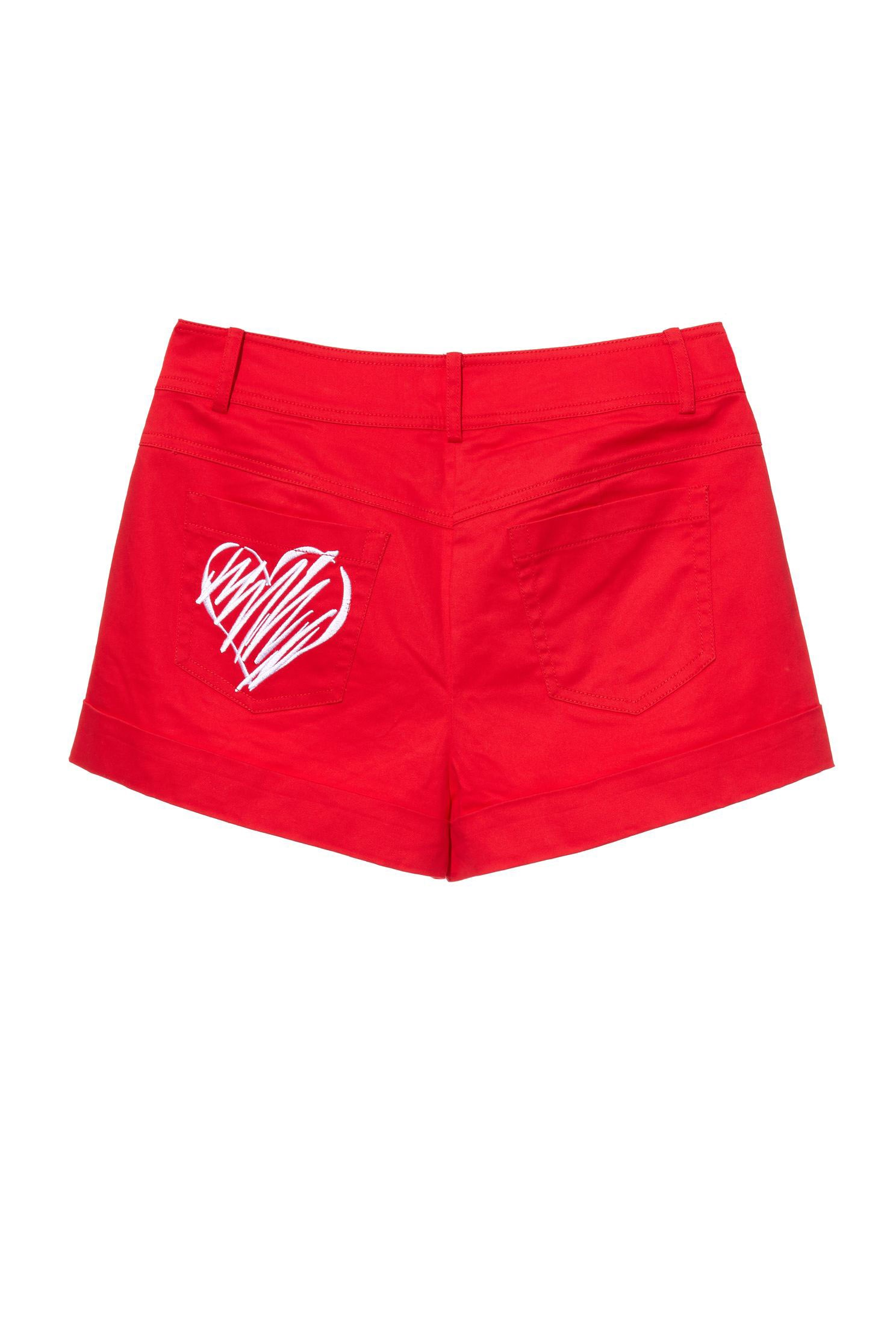 Love embroidery mid-waist shorts