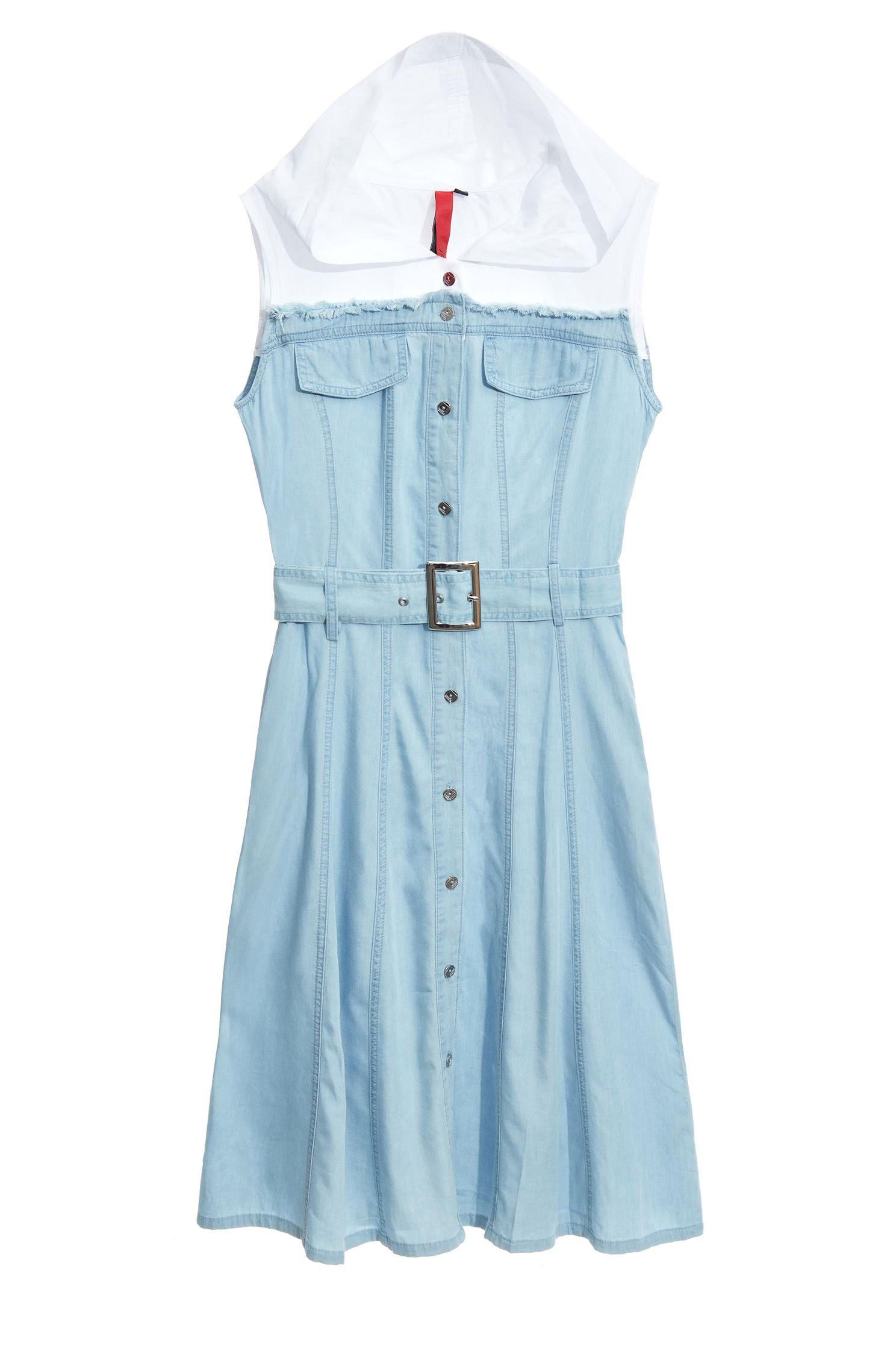 HOODED contrast denim dress