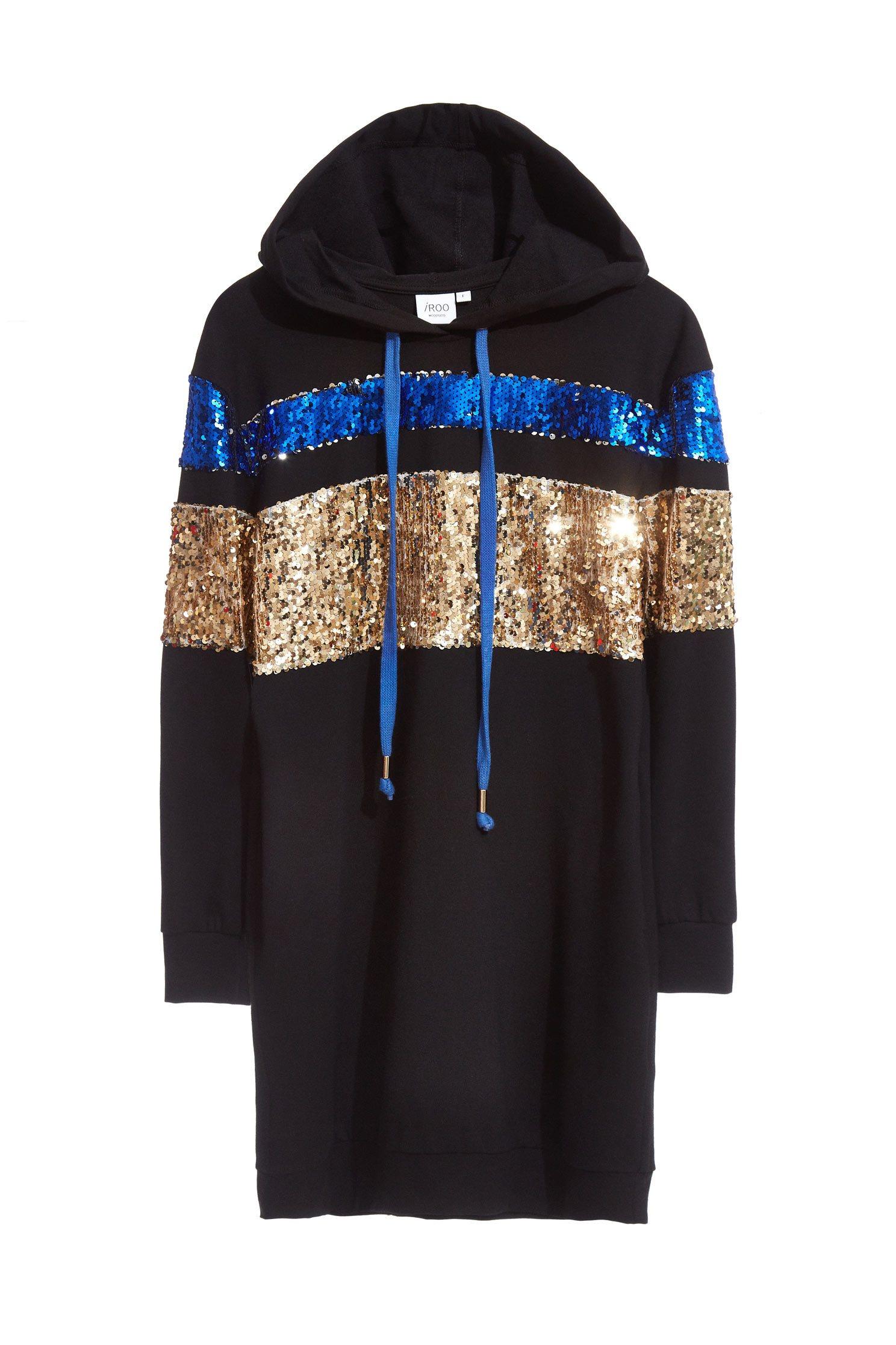 Sequin Shirt Long Sleeve hoodie dress