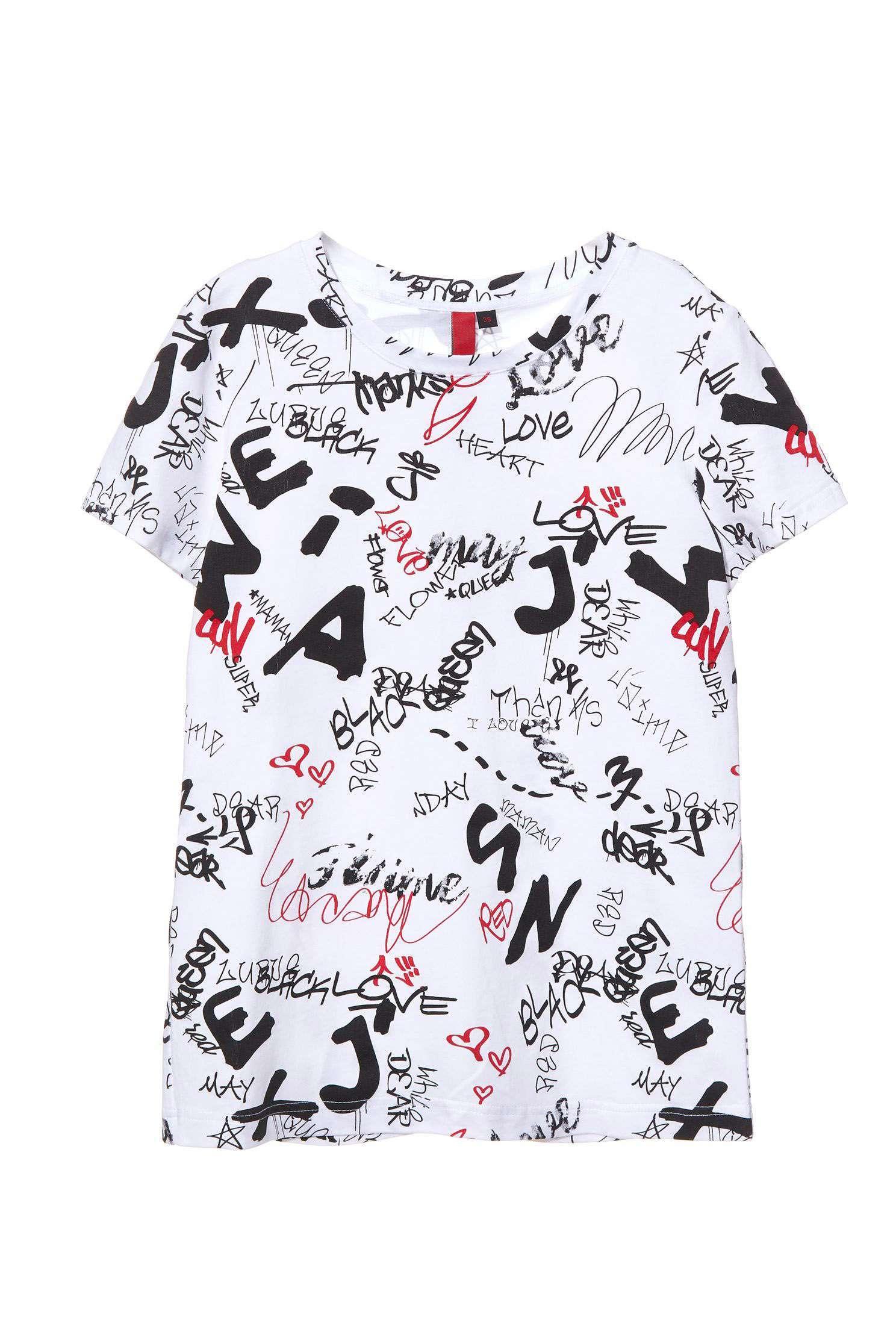 Graffiti text short-sleeved T-shirt