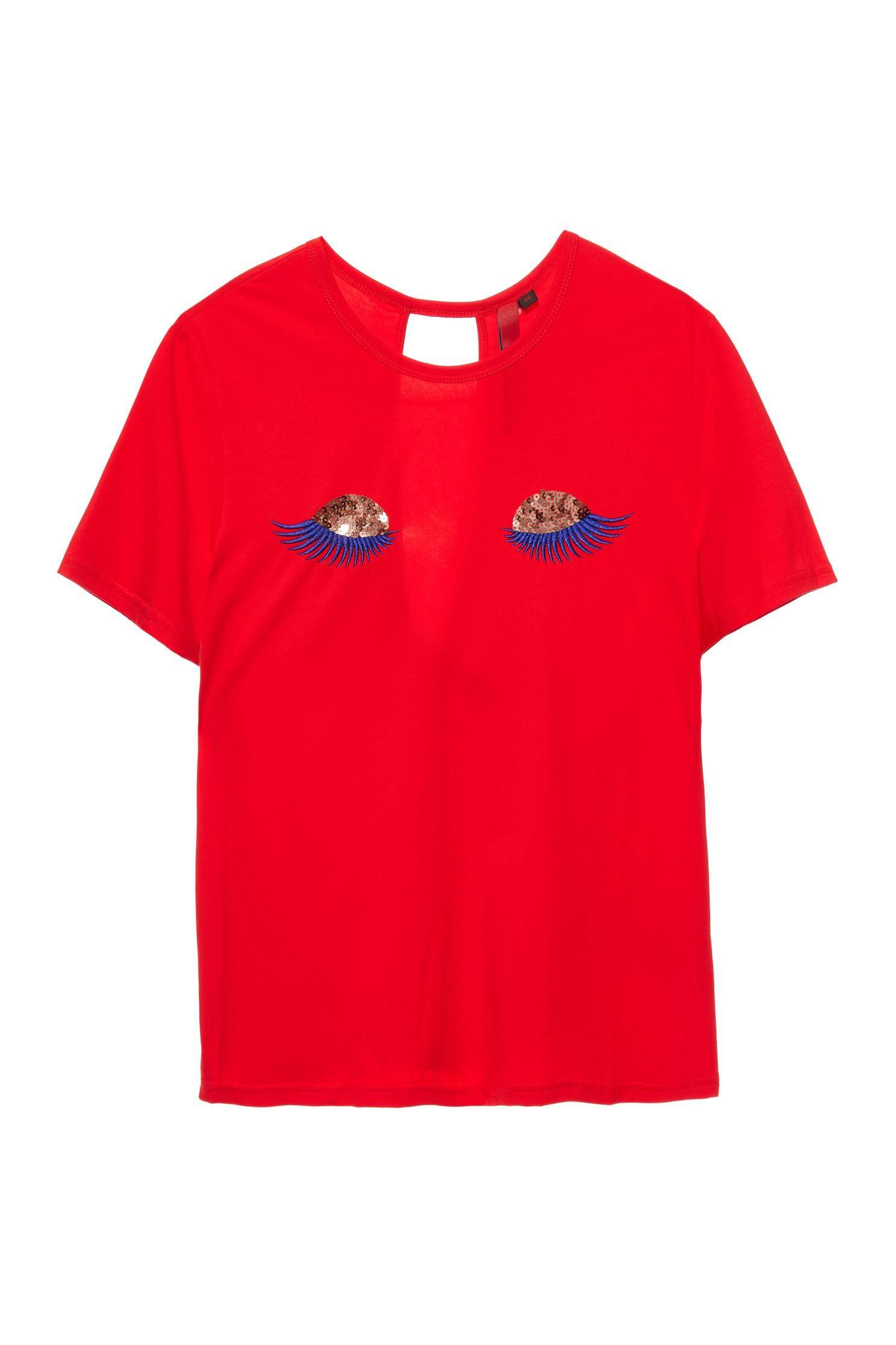 Round-collar eye embroidered T-shirt