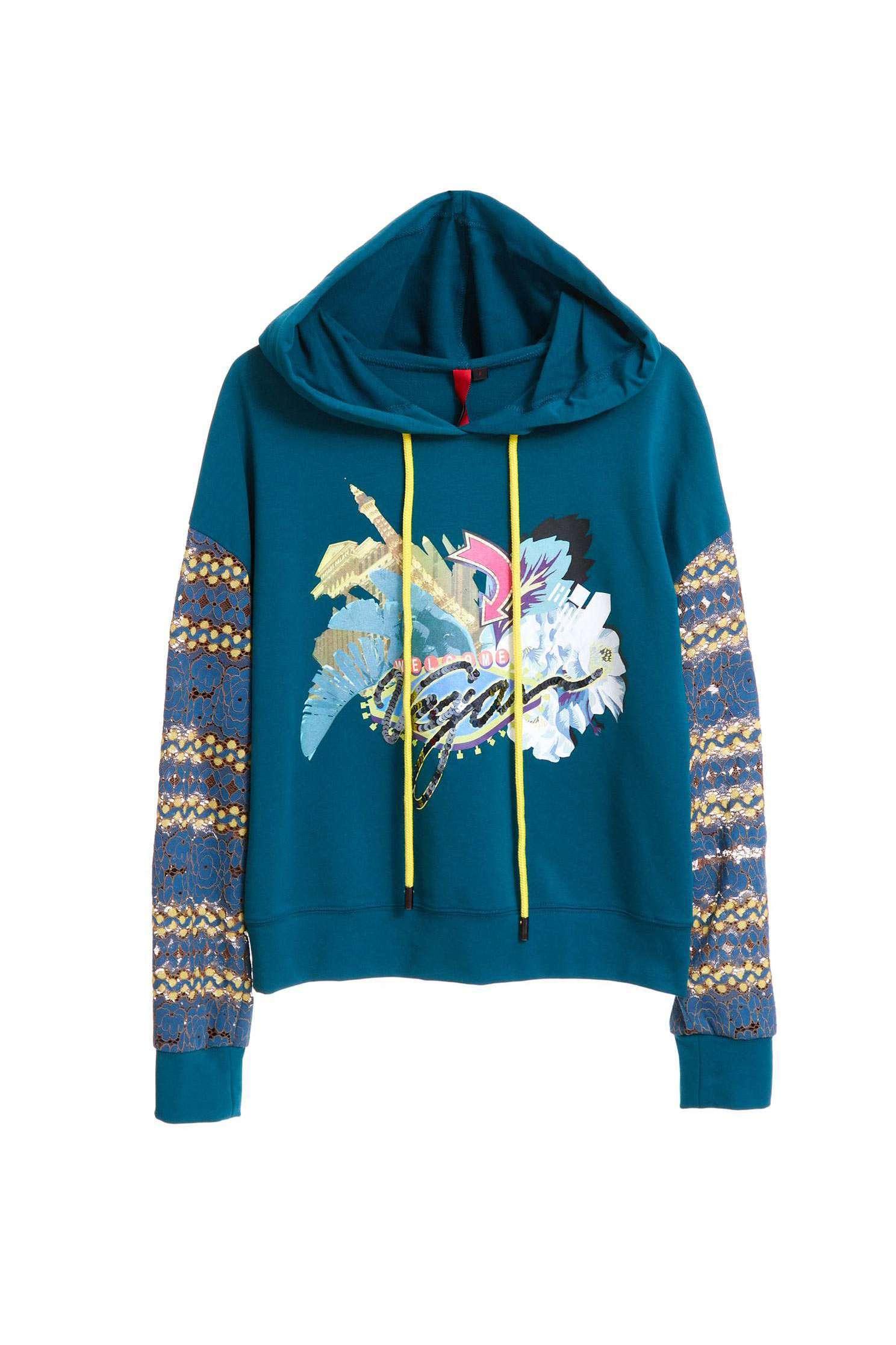 Lace sleeves hoodie