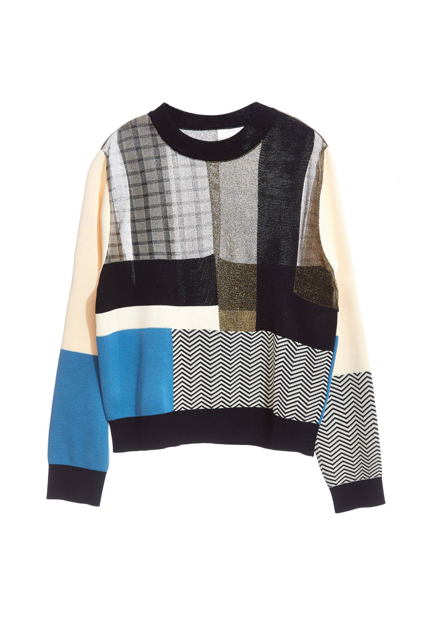 Contrast Color knit Long Sleeve Top
