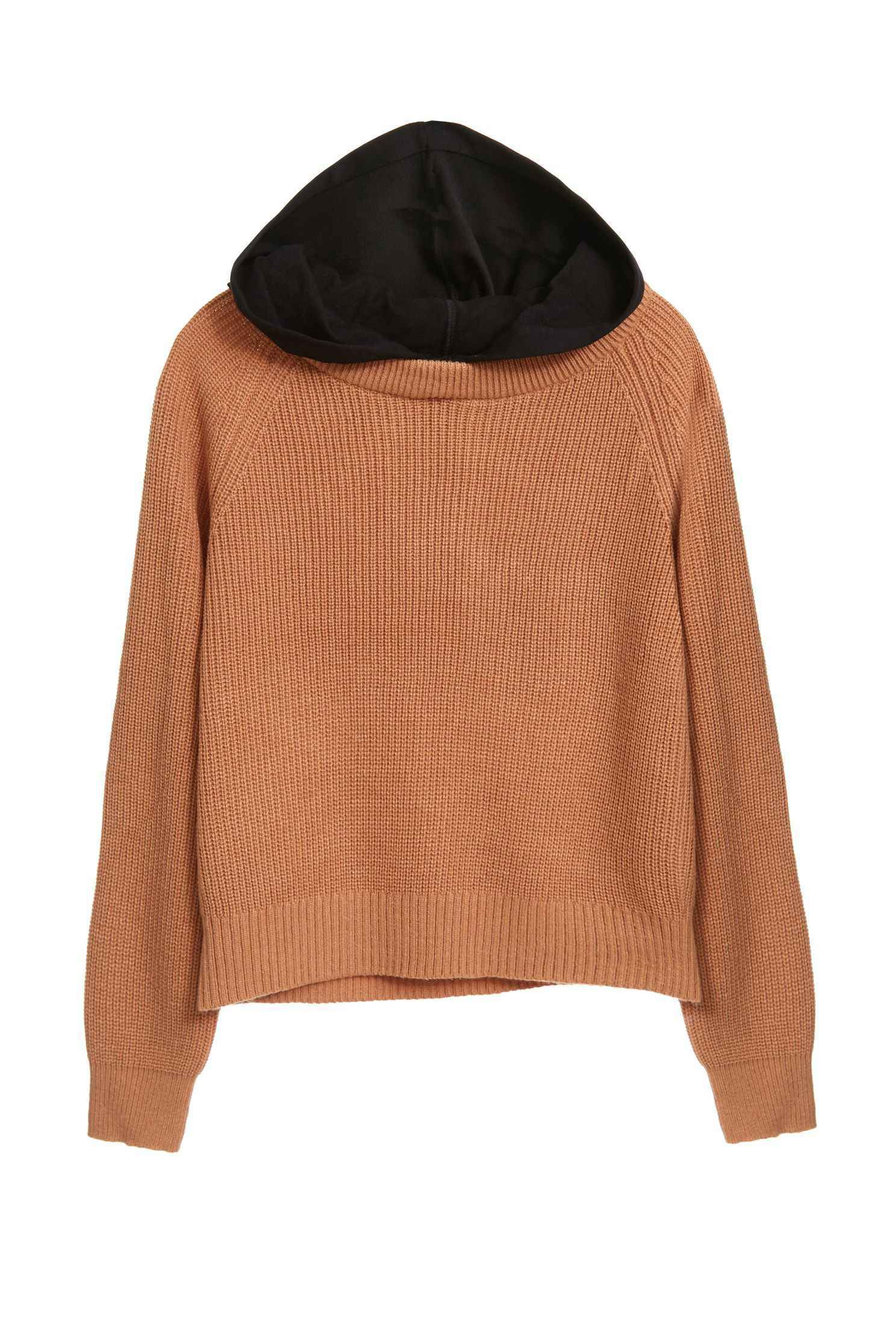 Hooded color knitwear