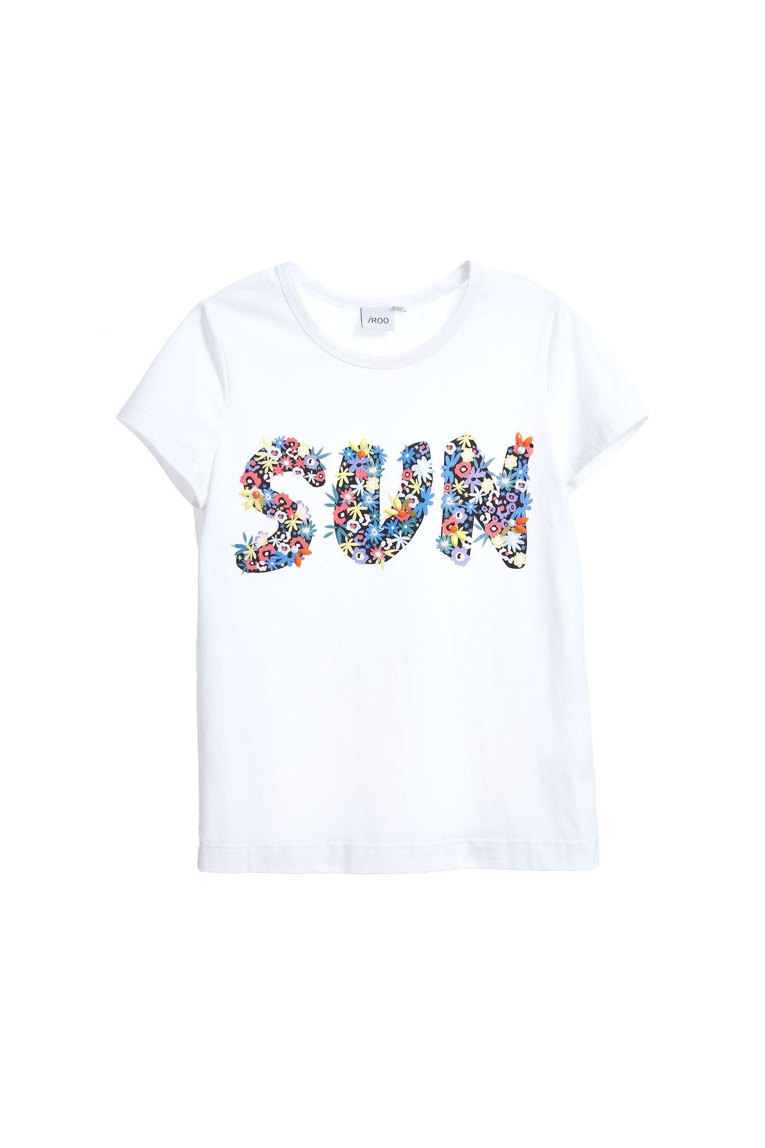 Flower word popular cotton T-shirt