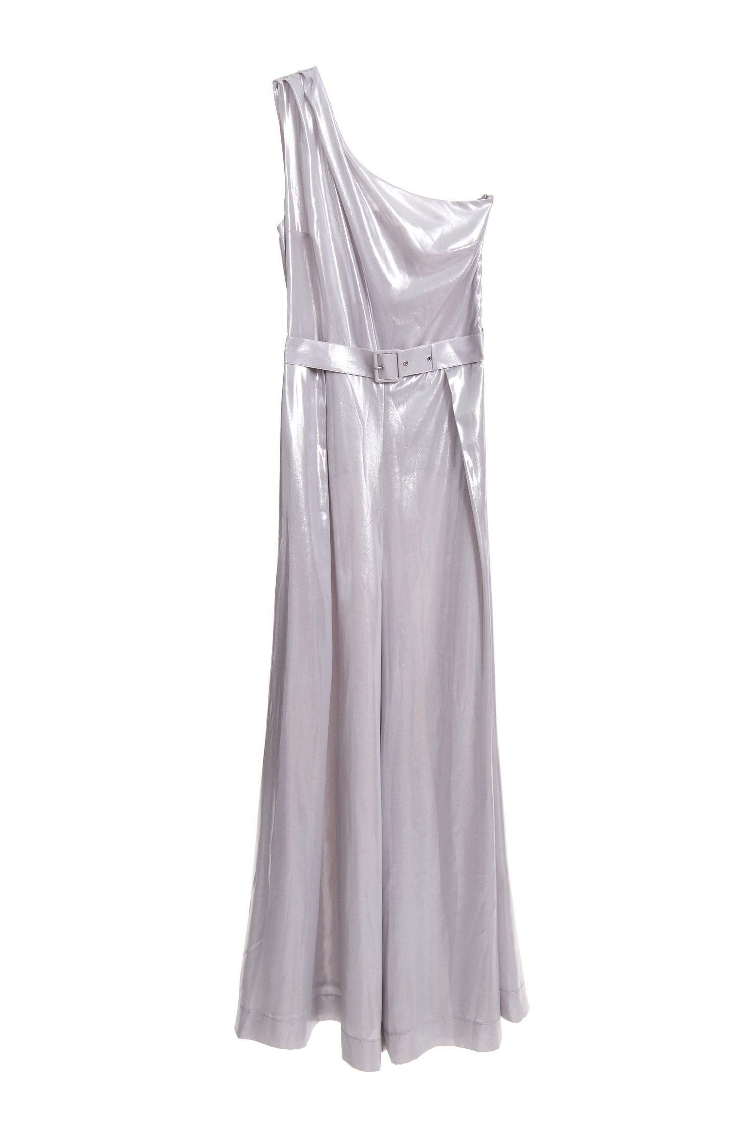 Water-light silver satin jumpsuit wide-leg pants