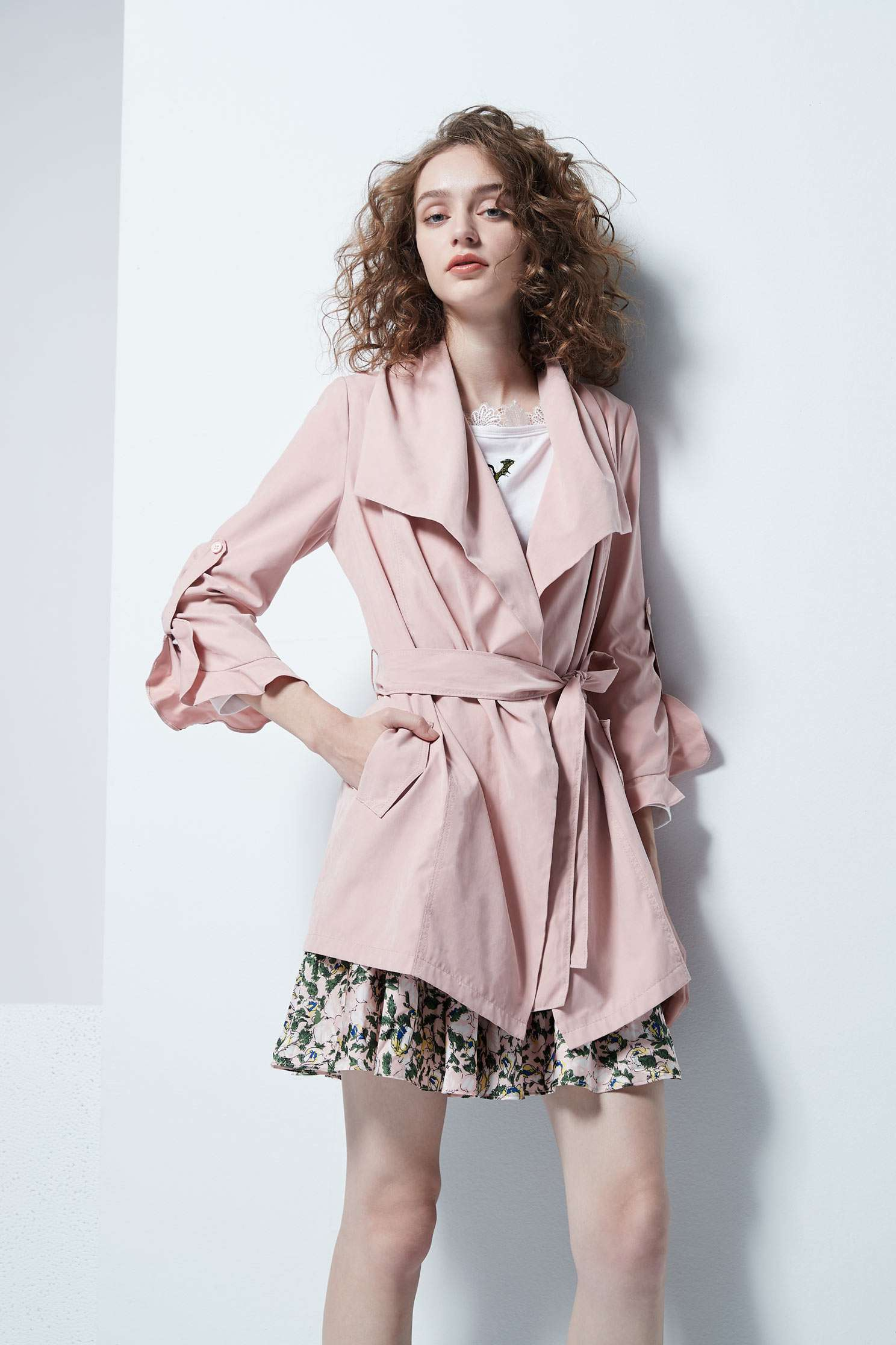Irregular cut collar coat