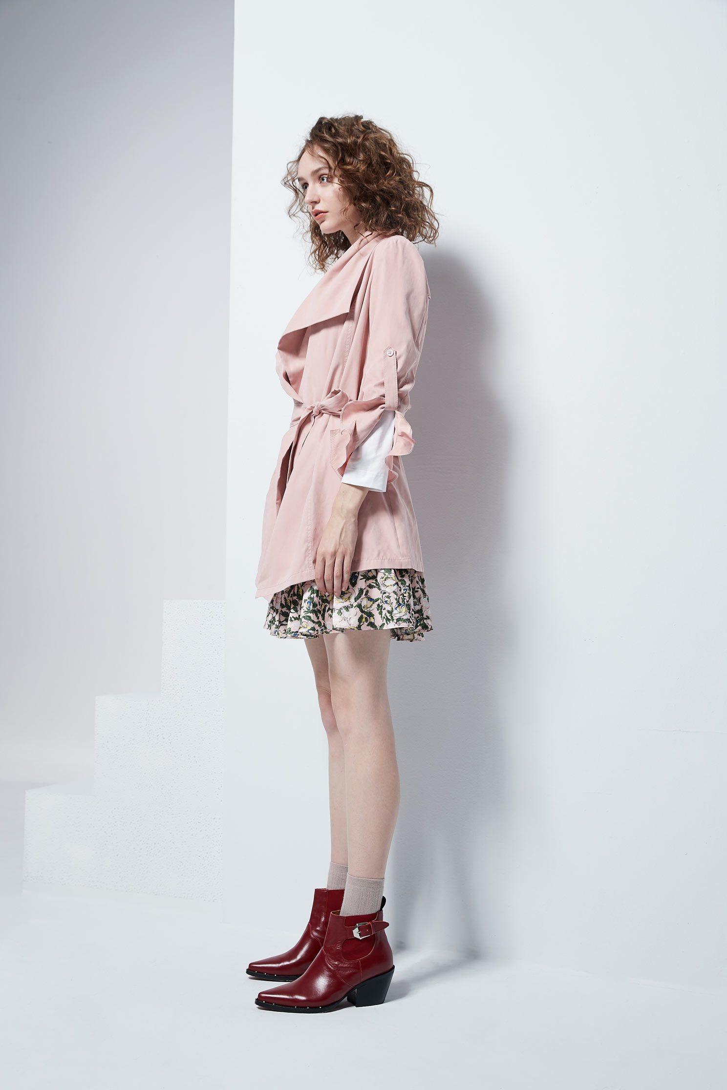 Irregular cut collar coat,outerwear,longsleeveouterwear,windbreaker