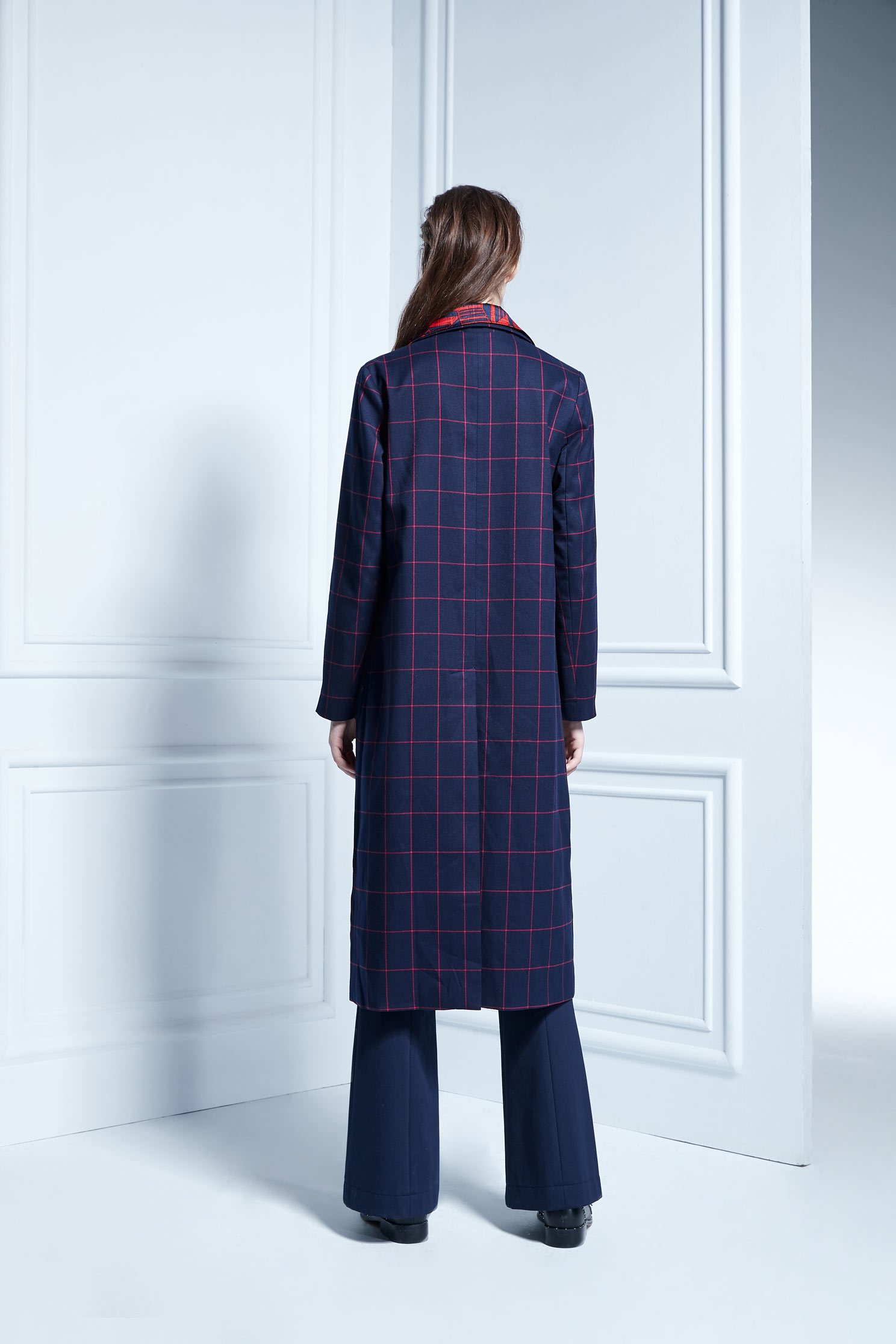 Pink check long coat,longcoat,longcoat,longsleeveouterwear