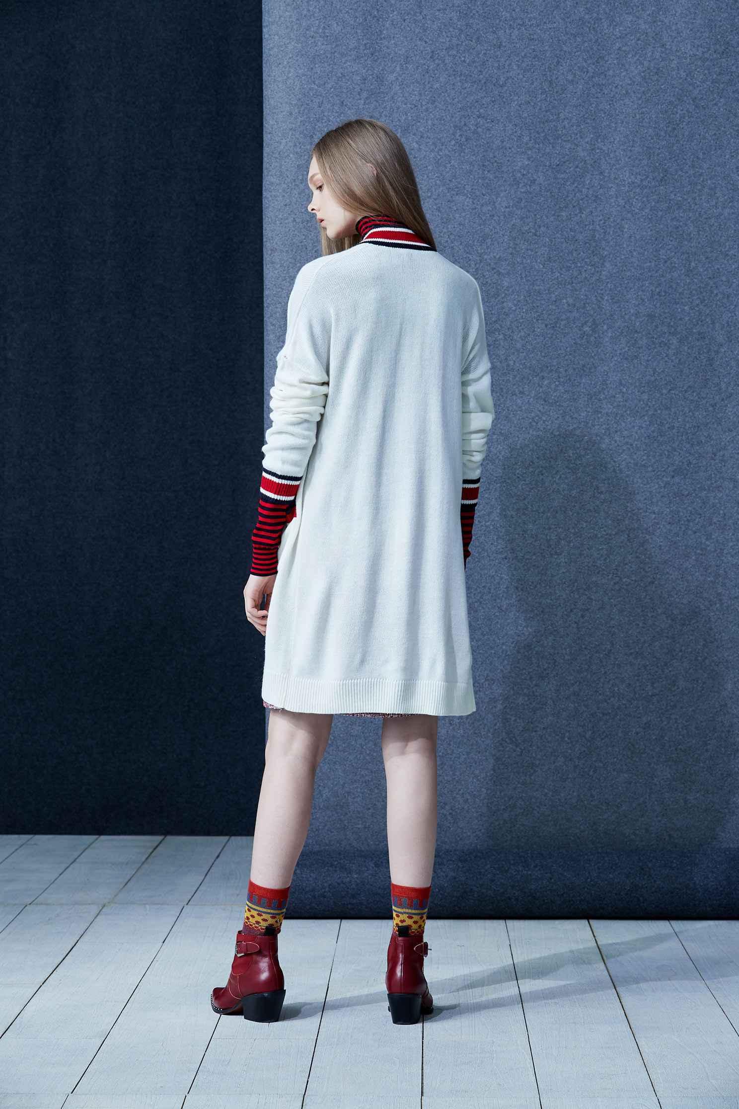 Mixing stripes coat,firesigns,whiteouterwear,cardigan,knitting,knittedjacket,longcoat,longsleeveouterwear