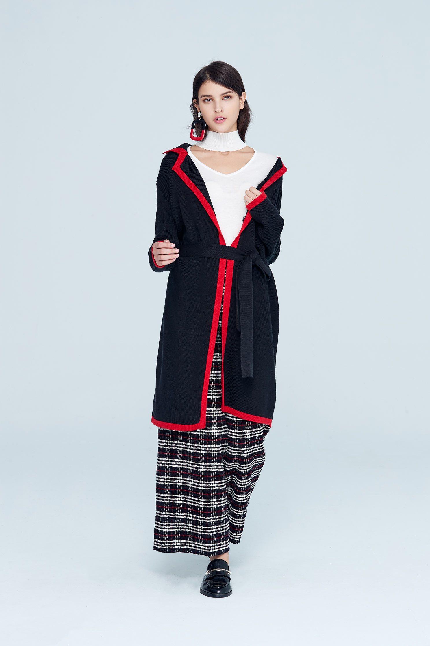 Classic coat with tie belt,outerwear,longcoat,longsleeveouterwear,blackouterwear