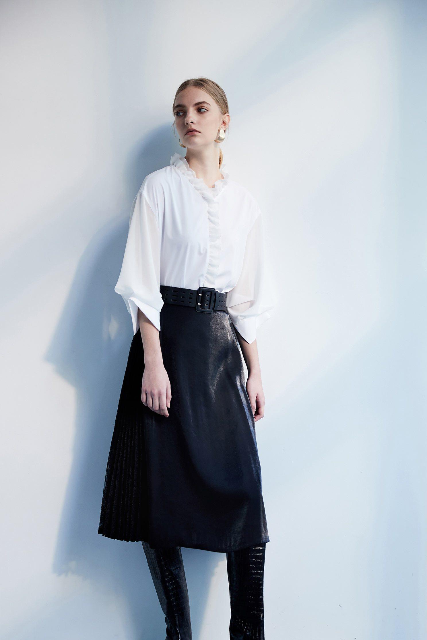 Stitching classic design dress,pleats,pleatedskirt,maxipleatedskirt,lace,laceskirt,longskirt,blackskirt